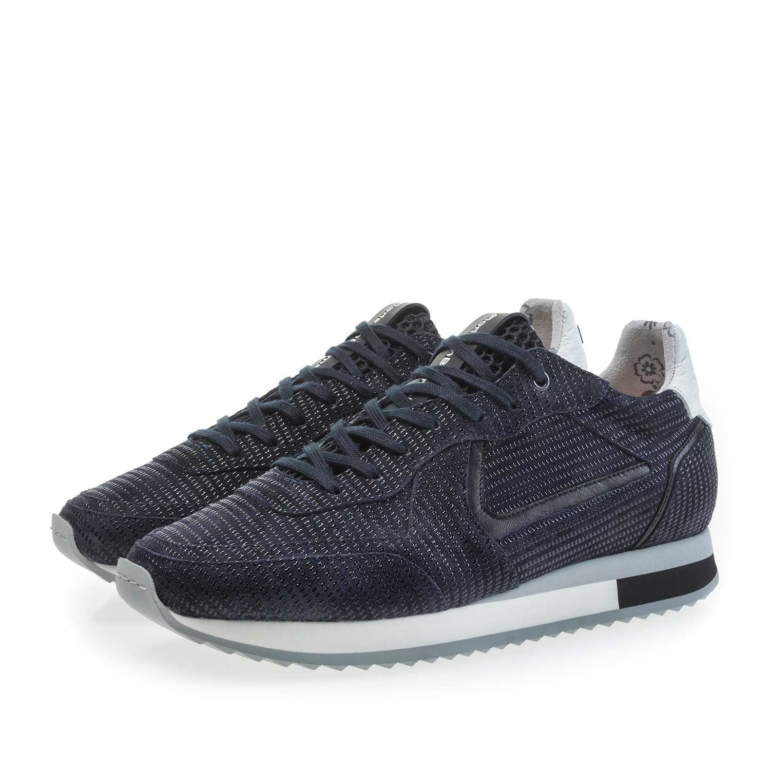 85232/02 - Dark blue calf's suede leather sneaker with printed motif
