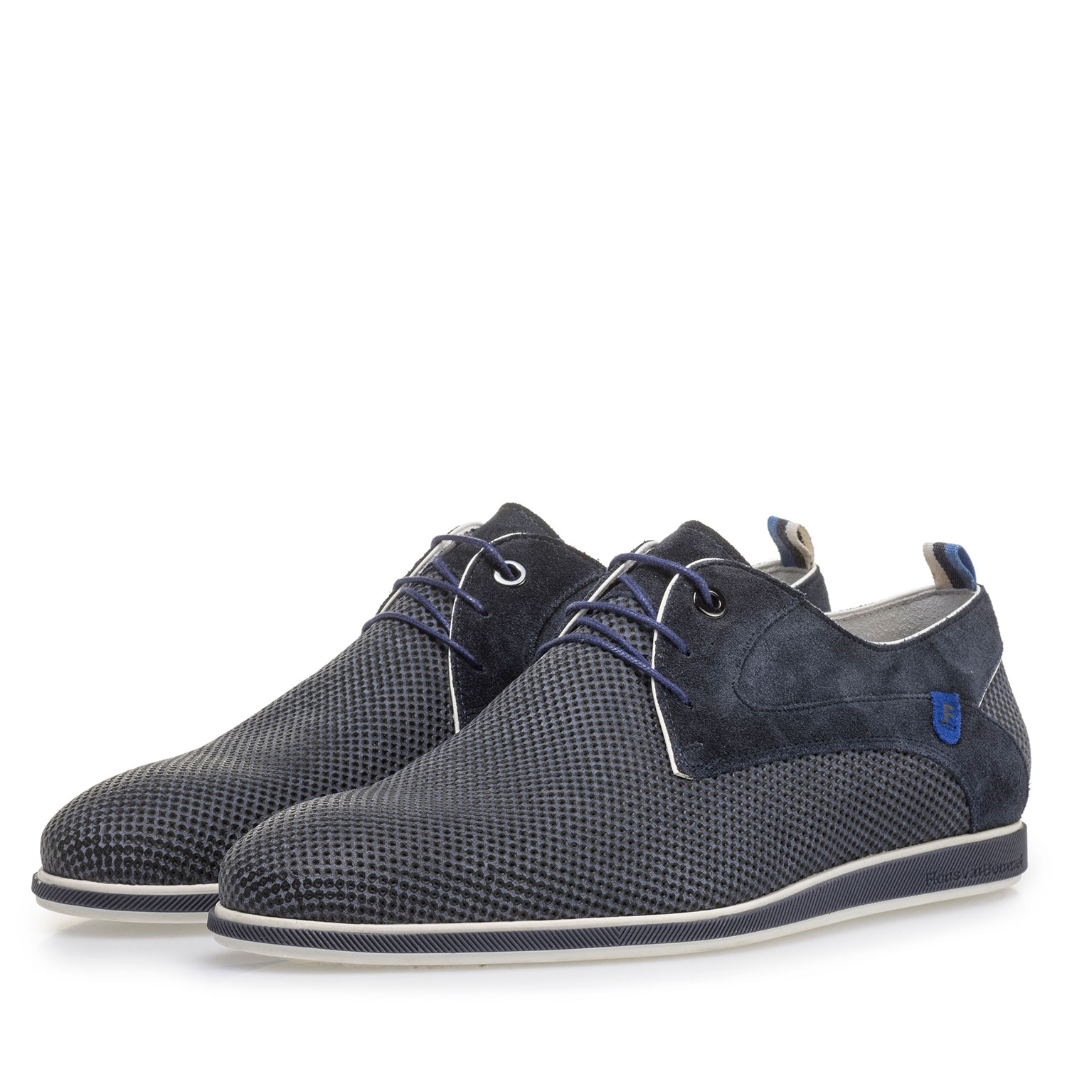 18201/13 - Blue suede leather lace shoe with print