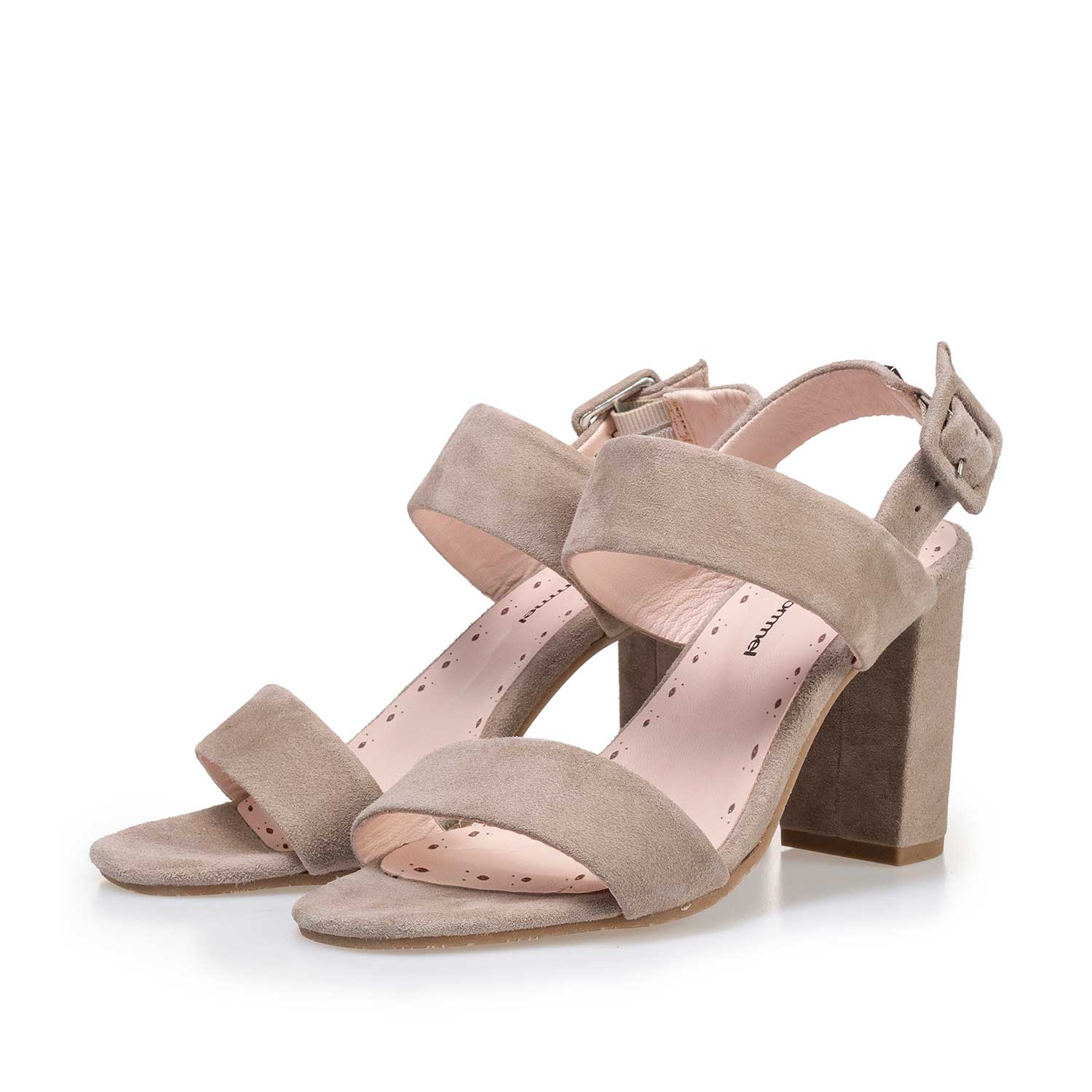 85228/03 - Taupe-coloured calf's suede leather heeled sandal