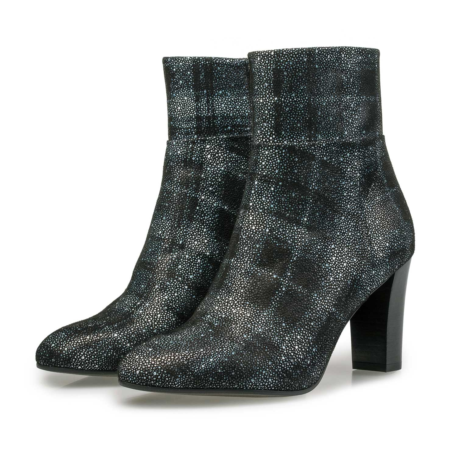 85196/06 - Ankle boot with black-blue check pattern