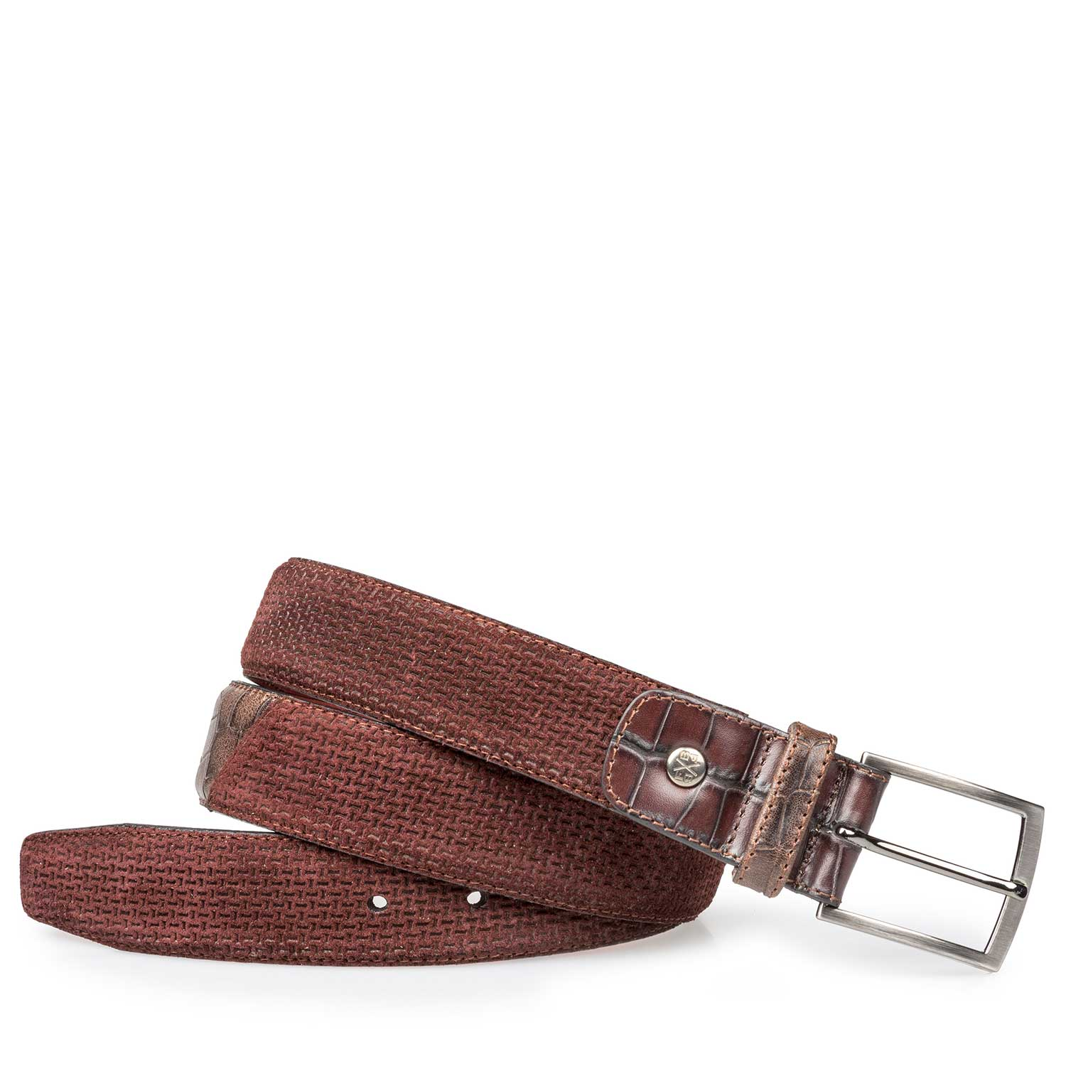 75188/04 - Burgundy red suede leather belt