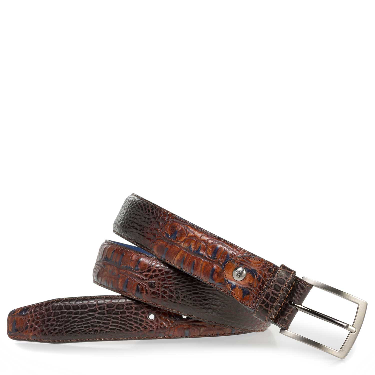 75201/32 - Cognac-coloured leather belt with croco print