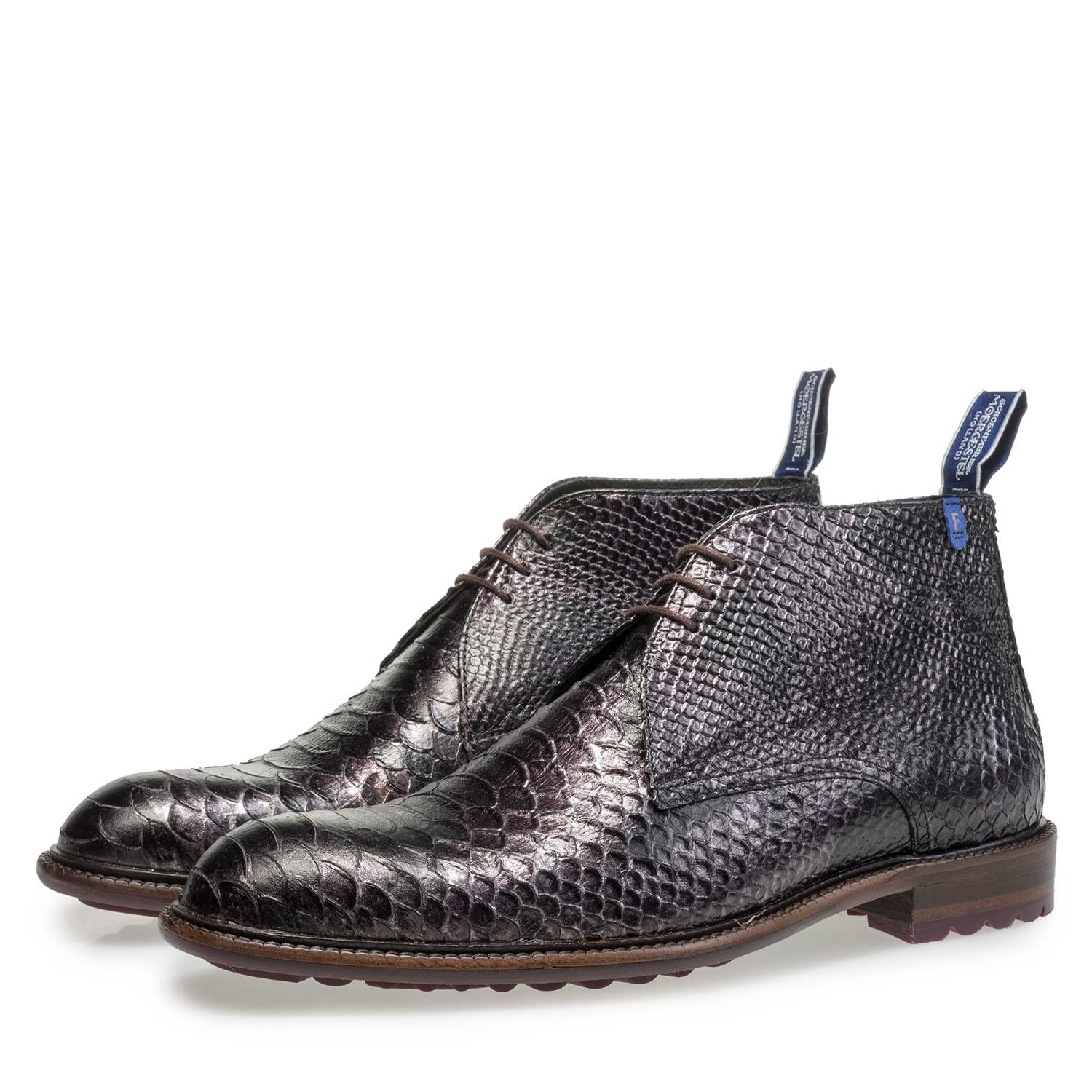 10203/12 - Grey calf leather snake print lace boot