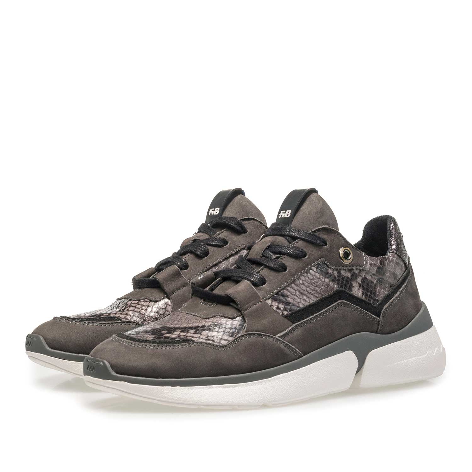 85291/01 - Dark grey suede leather sneaker with snake print