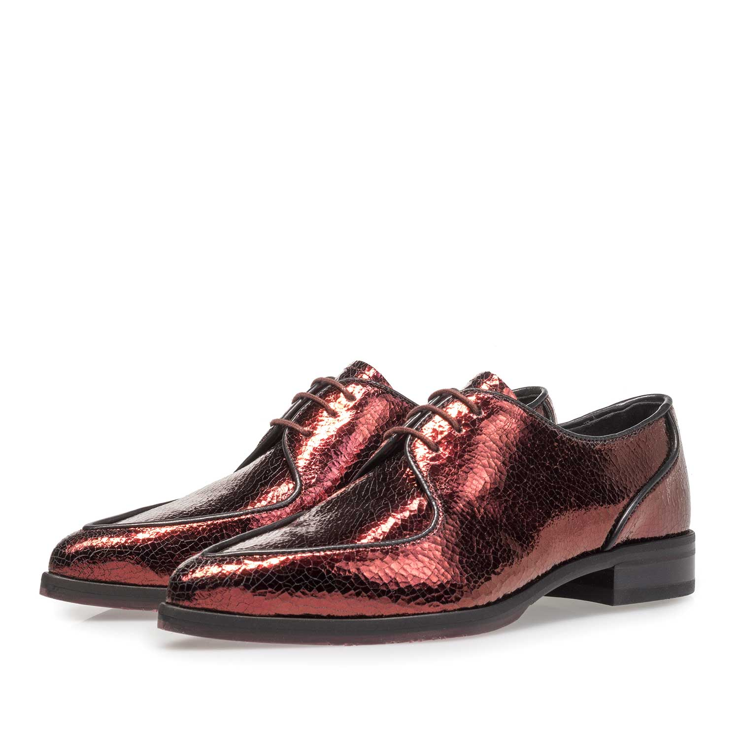 85811/01 - Red leather lace shoe with metallic print