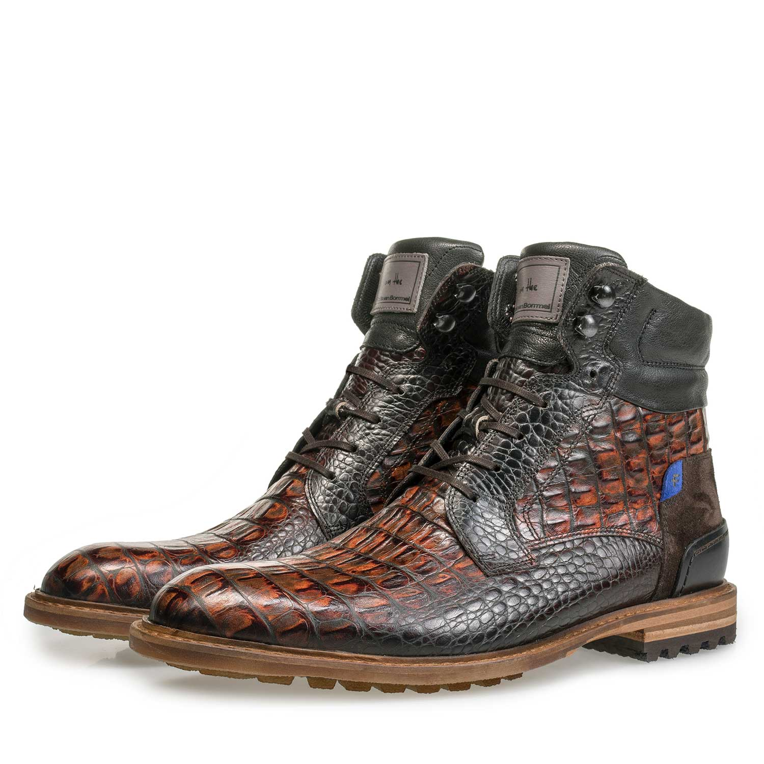 10234/12 - Brown calf leather lace boot with croco print