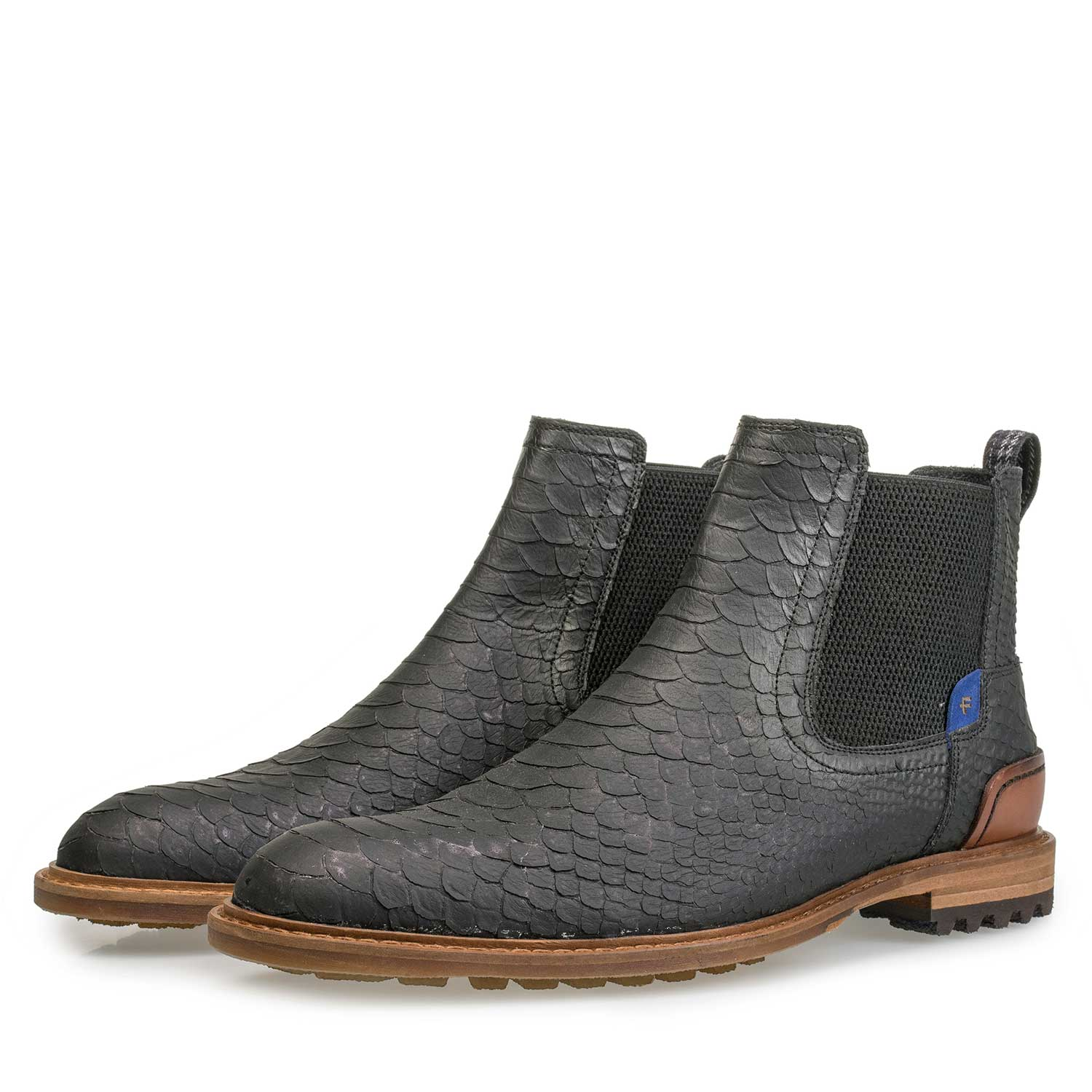 10230/11 - Grey leather Chelsea boot with snake print