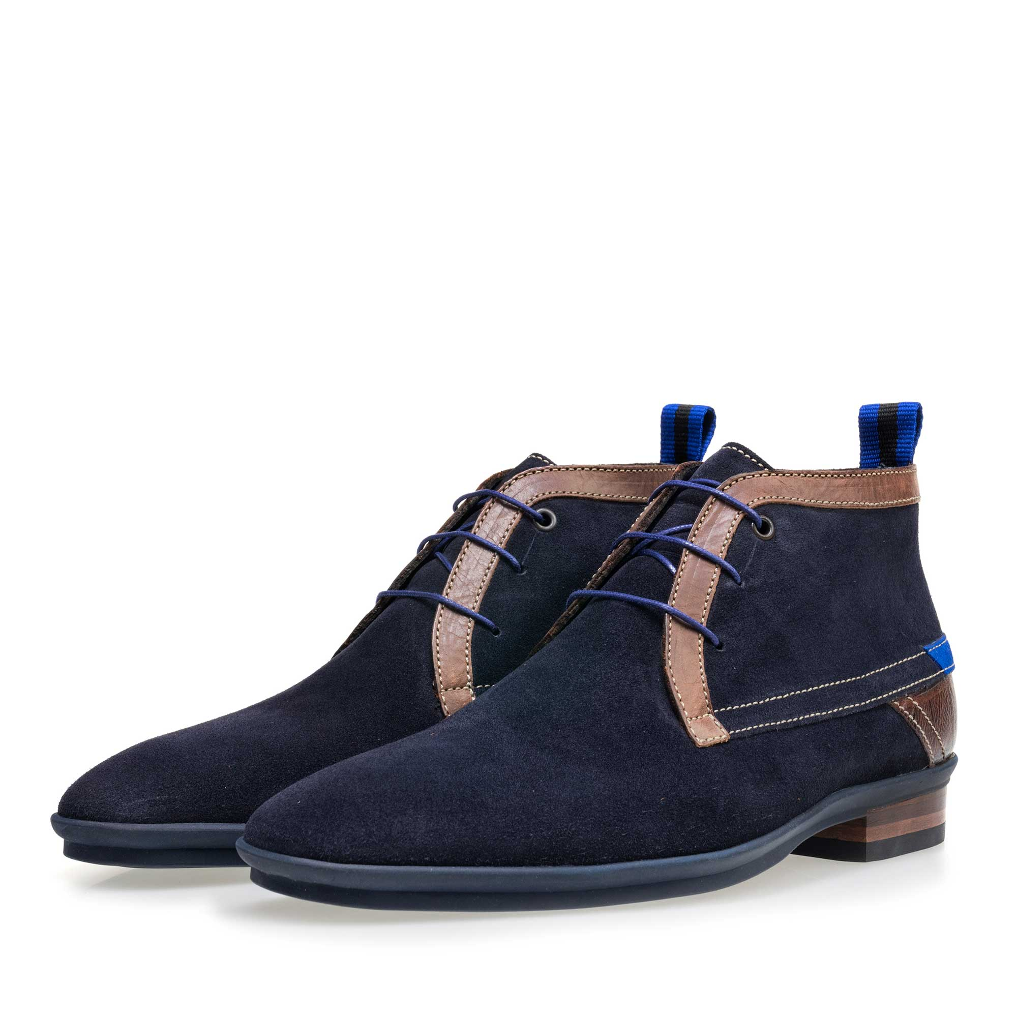 10334/23 - Dark blue mid-high suede leather lace boot