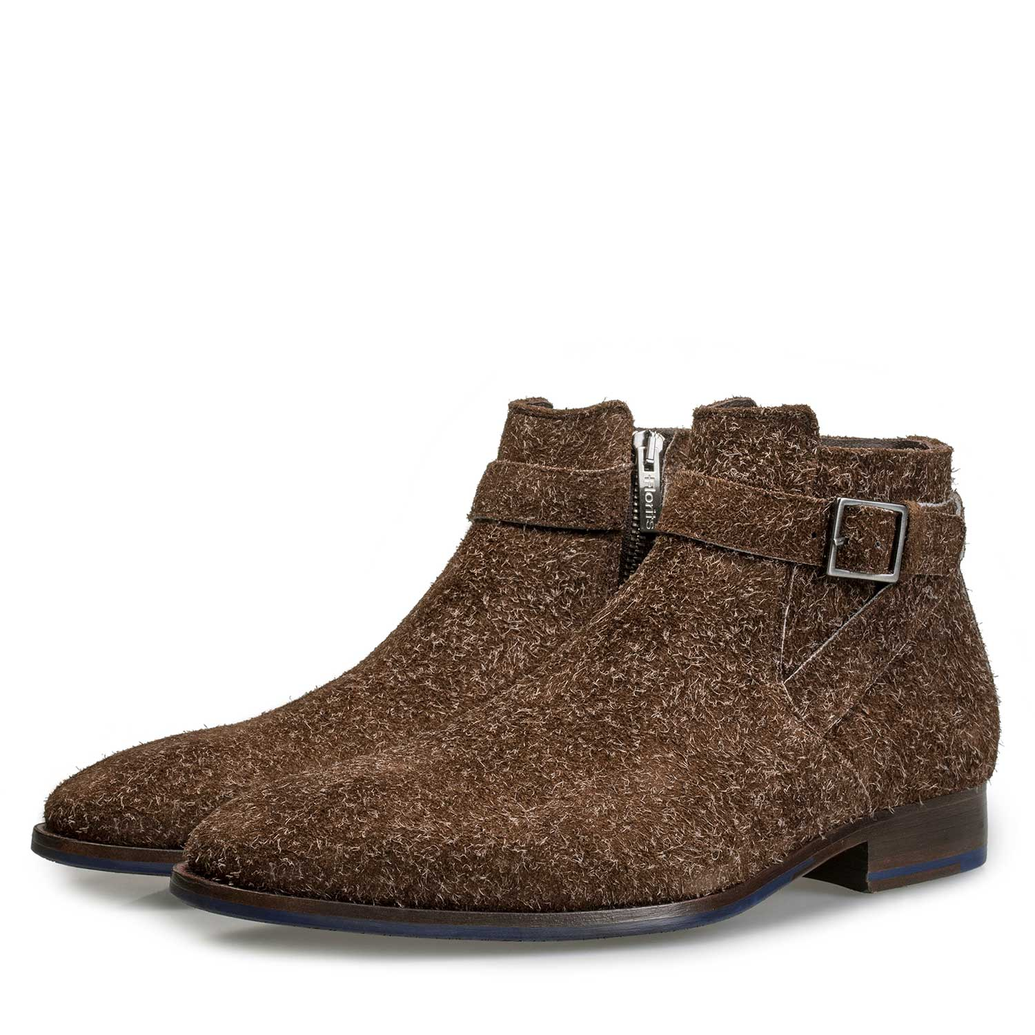 10422/01 - Brown rough suede leather zip ankle boot