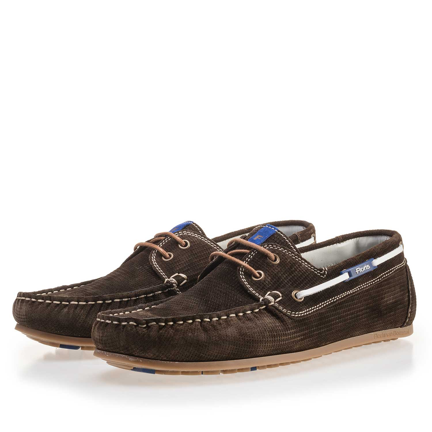 15035/01 - Green, patterned suede leather boat shoe