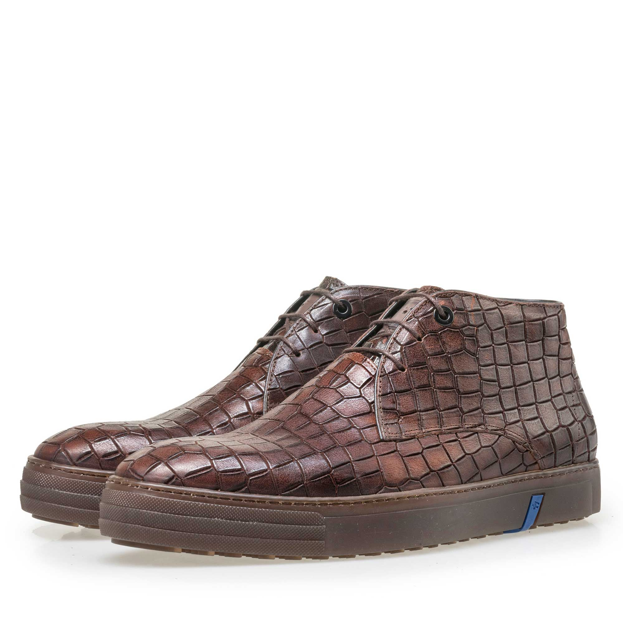 10941/10 - Floris van Bommel men's mid-high brown city sneaker finished with a crocodile print