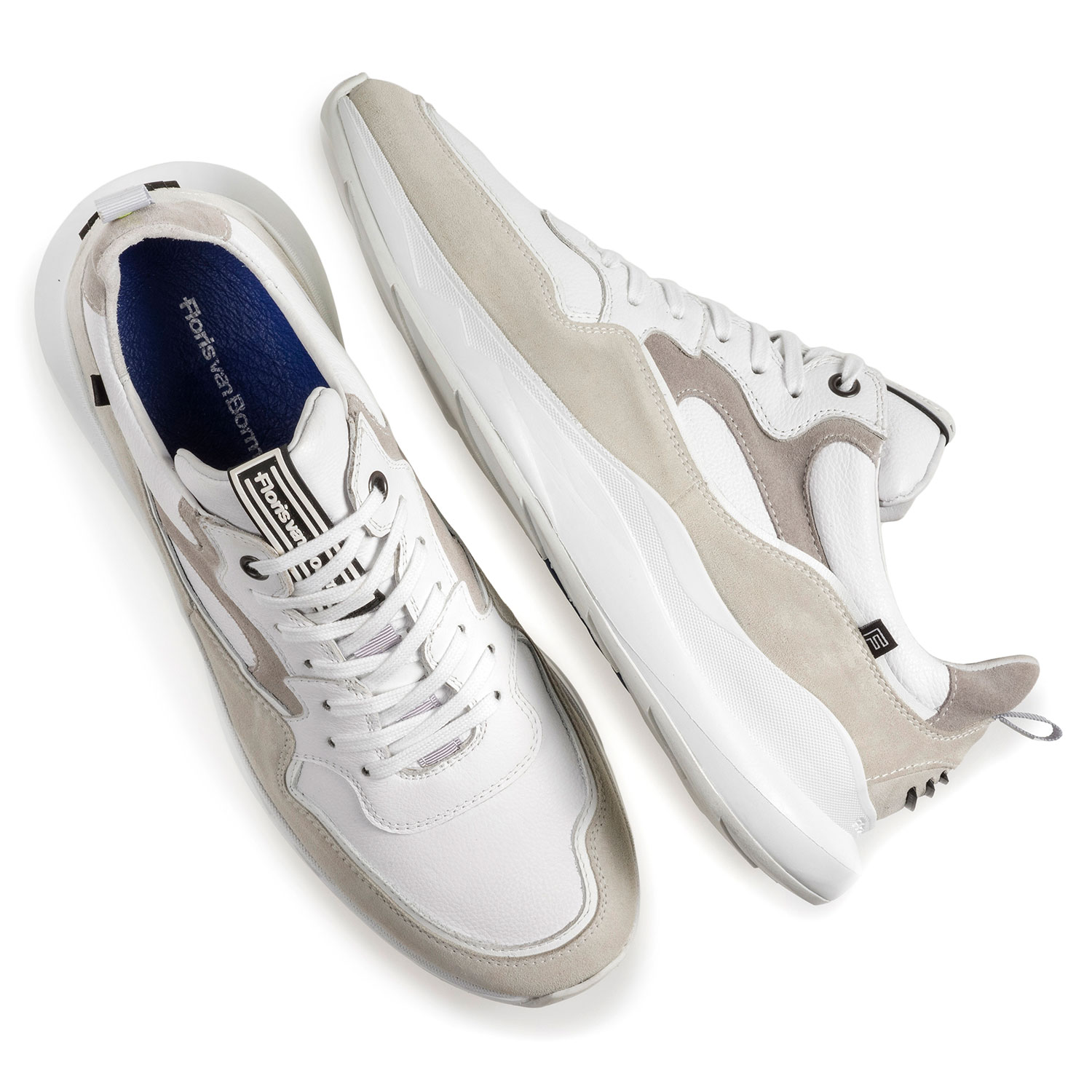 16269/21 - White sneaker with off-white suede leather