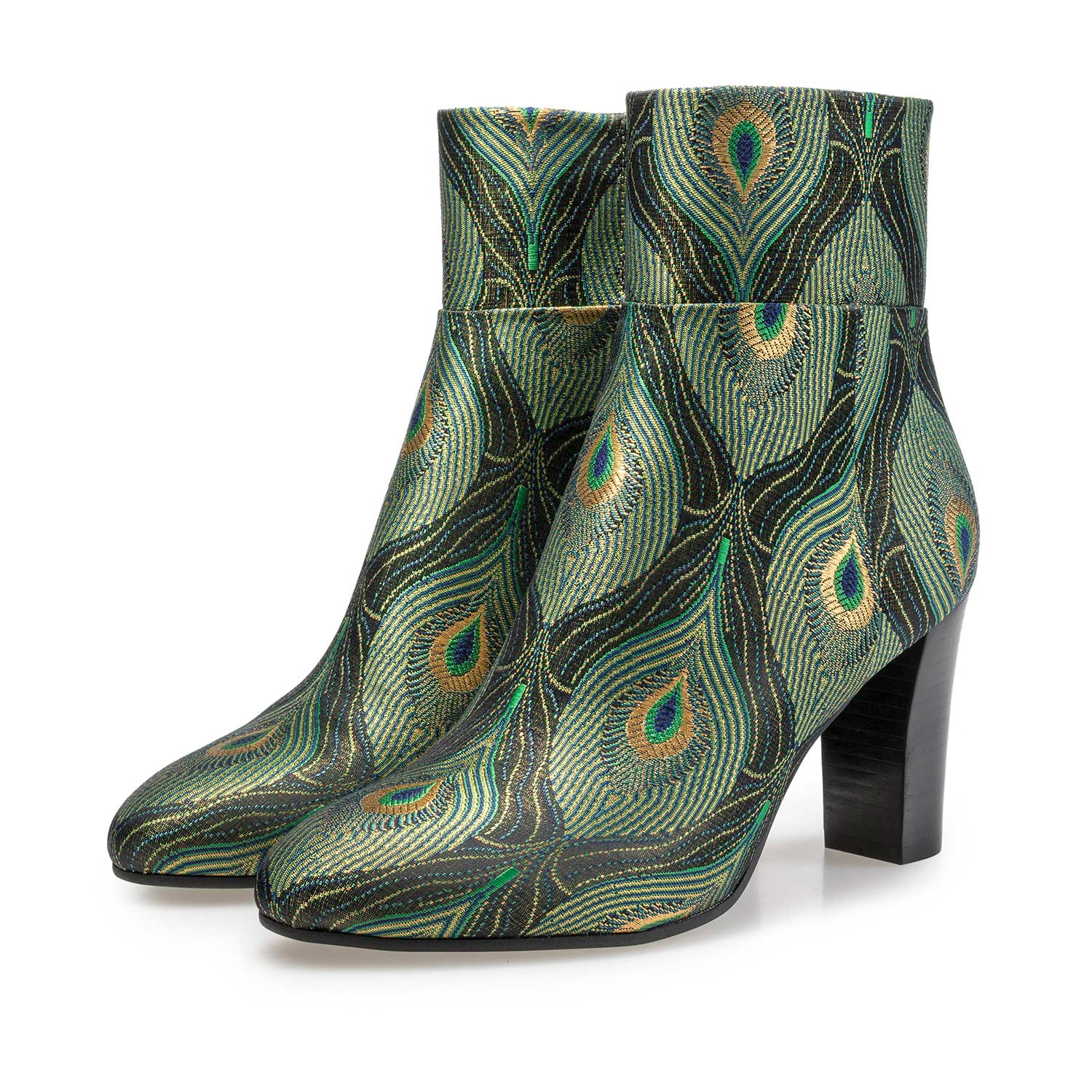 Ankle boots with peacock print – green – 8519609|Floris van