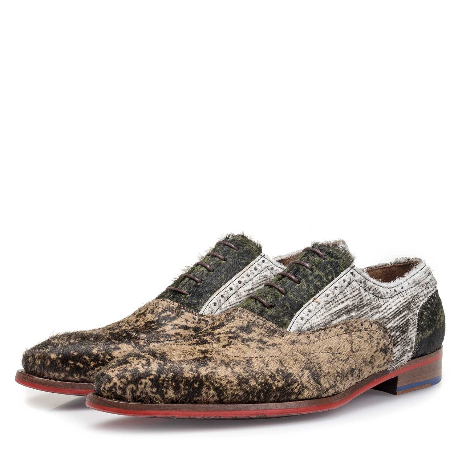 19124/00 - Brown premium lace shoe with print