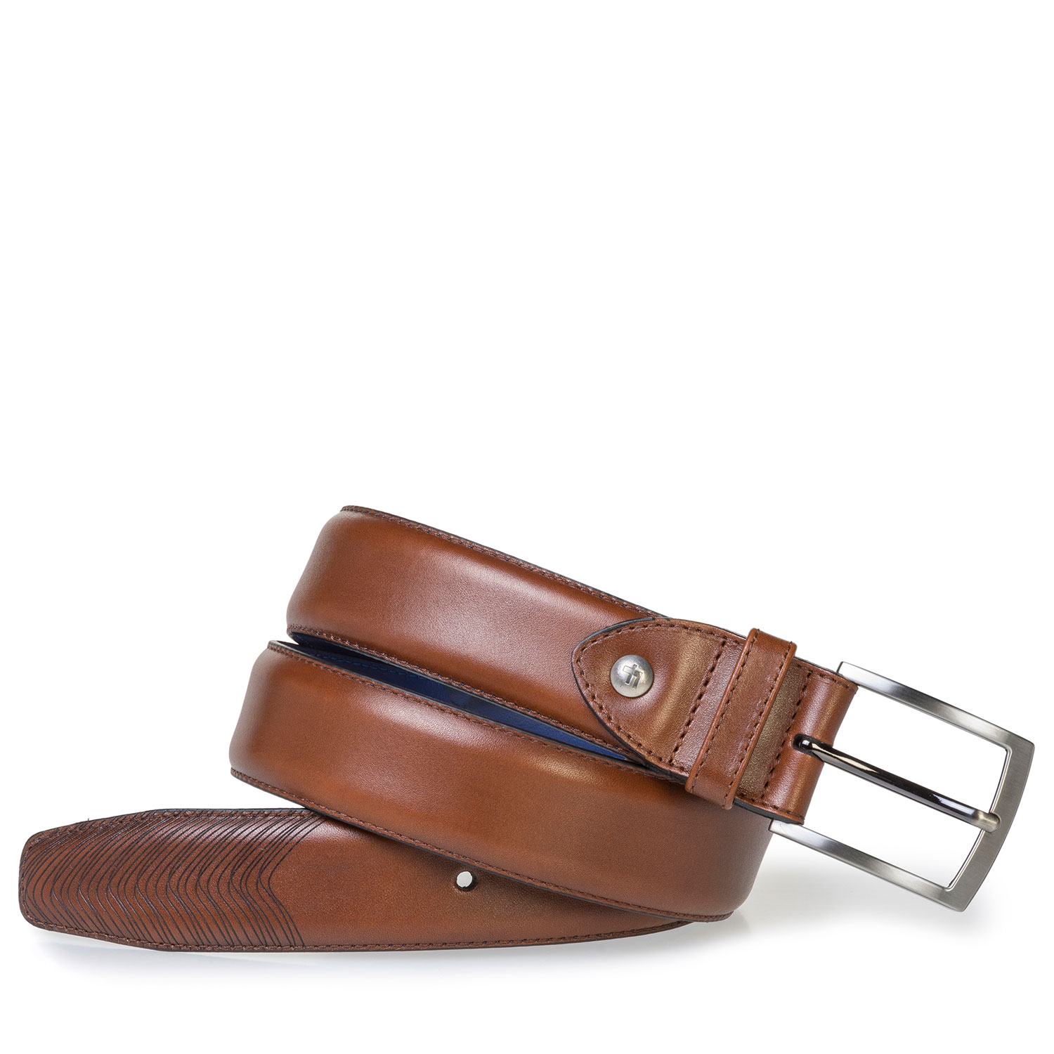 75216/00 - Dark cognac-coloured calf leather belt
