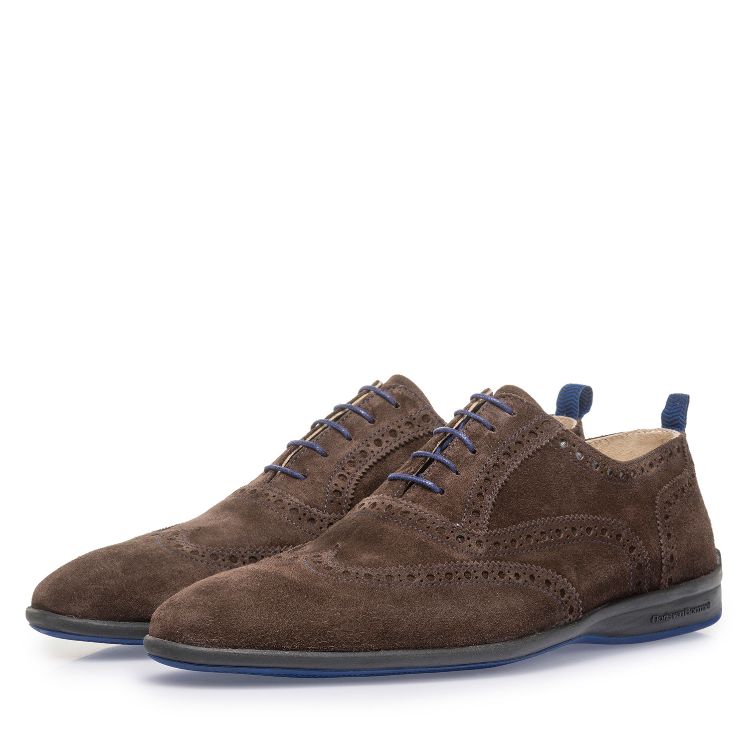 16360/08 - Brown suede leather lace shoe