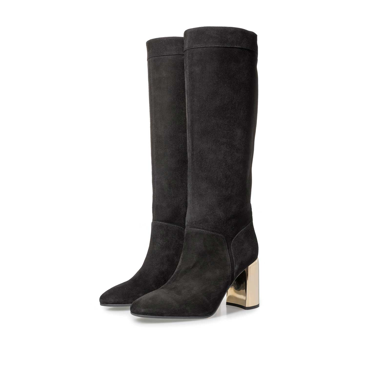 85708/00 - Black suede leather high boots