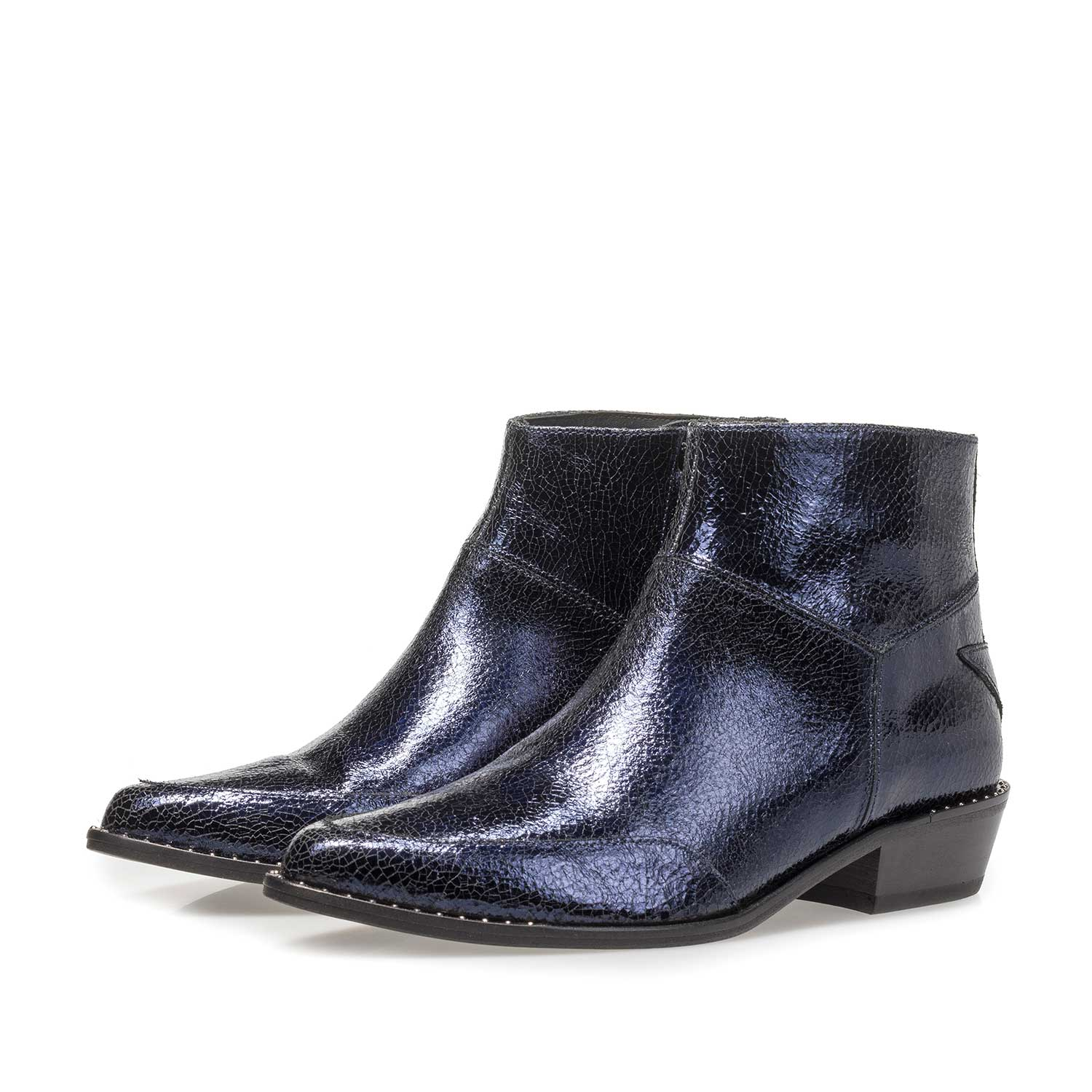 85625/02 - Dark blue leather ankle boots with metallic print