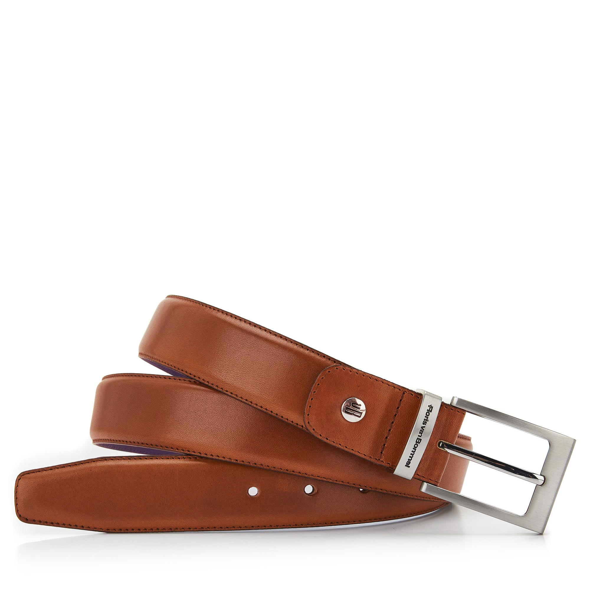 75046/00 - Floris van Bommel dark cognac leather men's belt