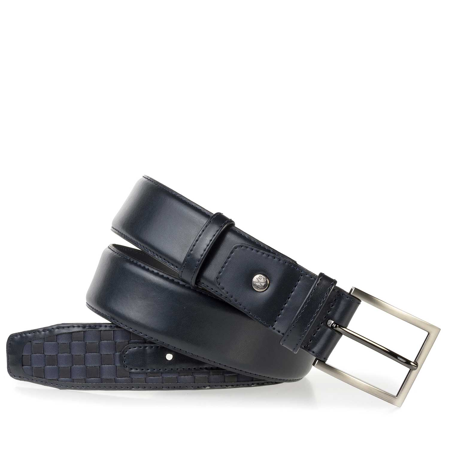 75159/06 - Premium dark blue braided leather belt