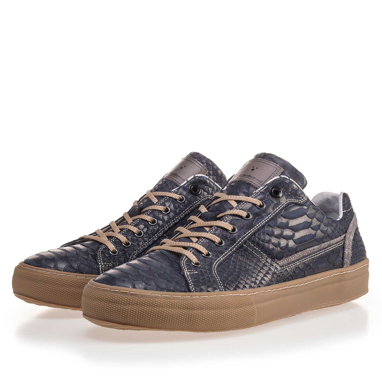 14448/14 - Dark blue leather sneaker finished with a snake print