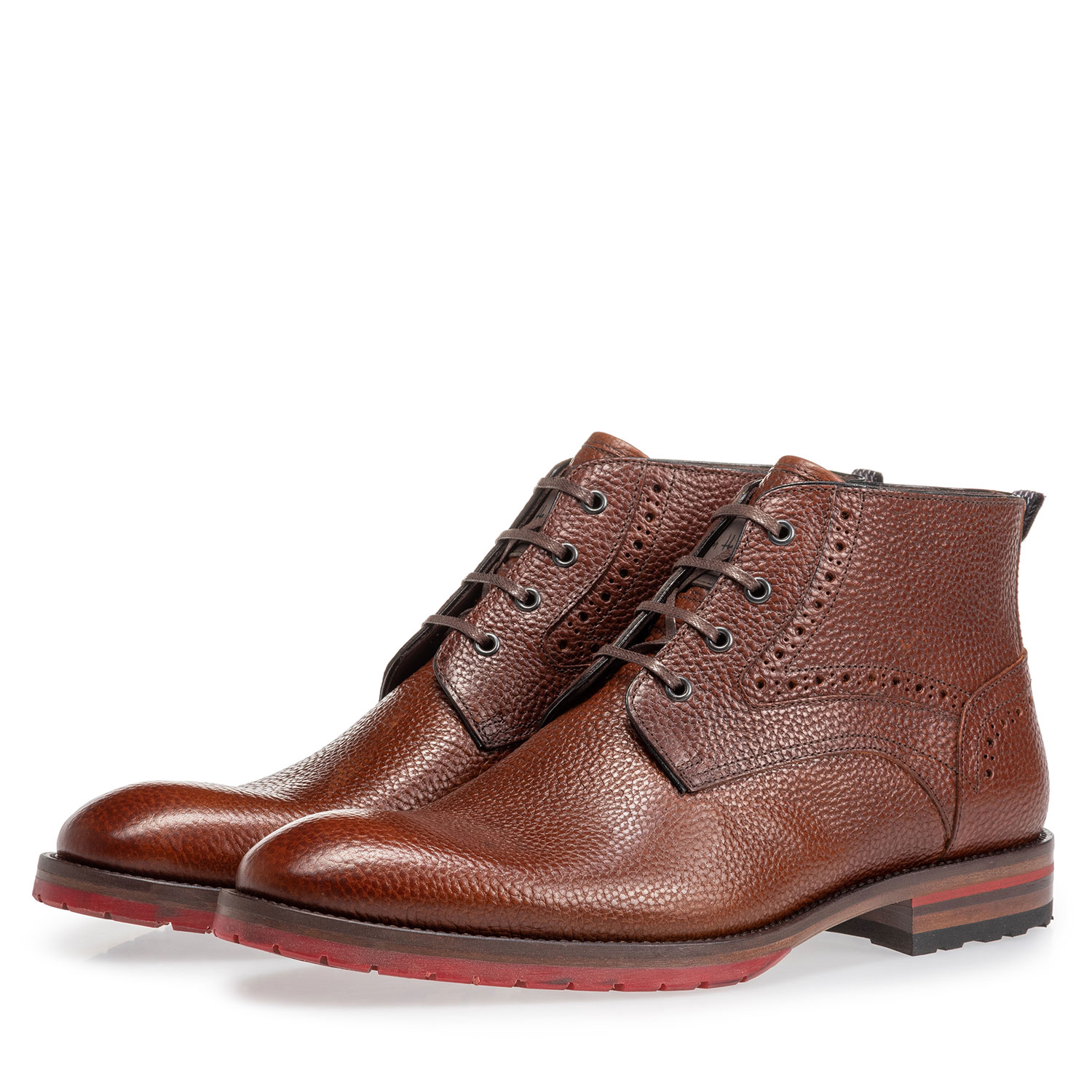 10317/25 - Lace boot structured leather cognac