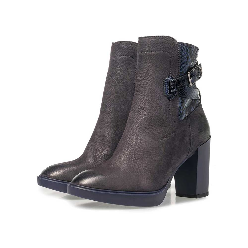 85627/01 - Dark blue nubuck leather ankle boots with snake print