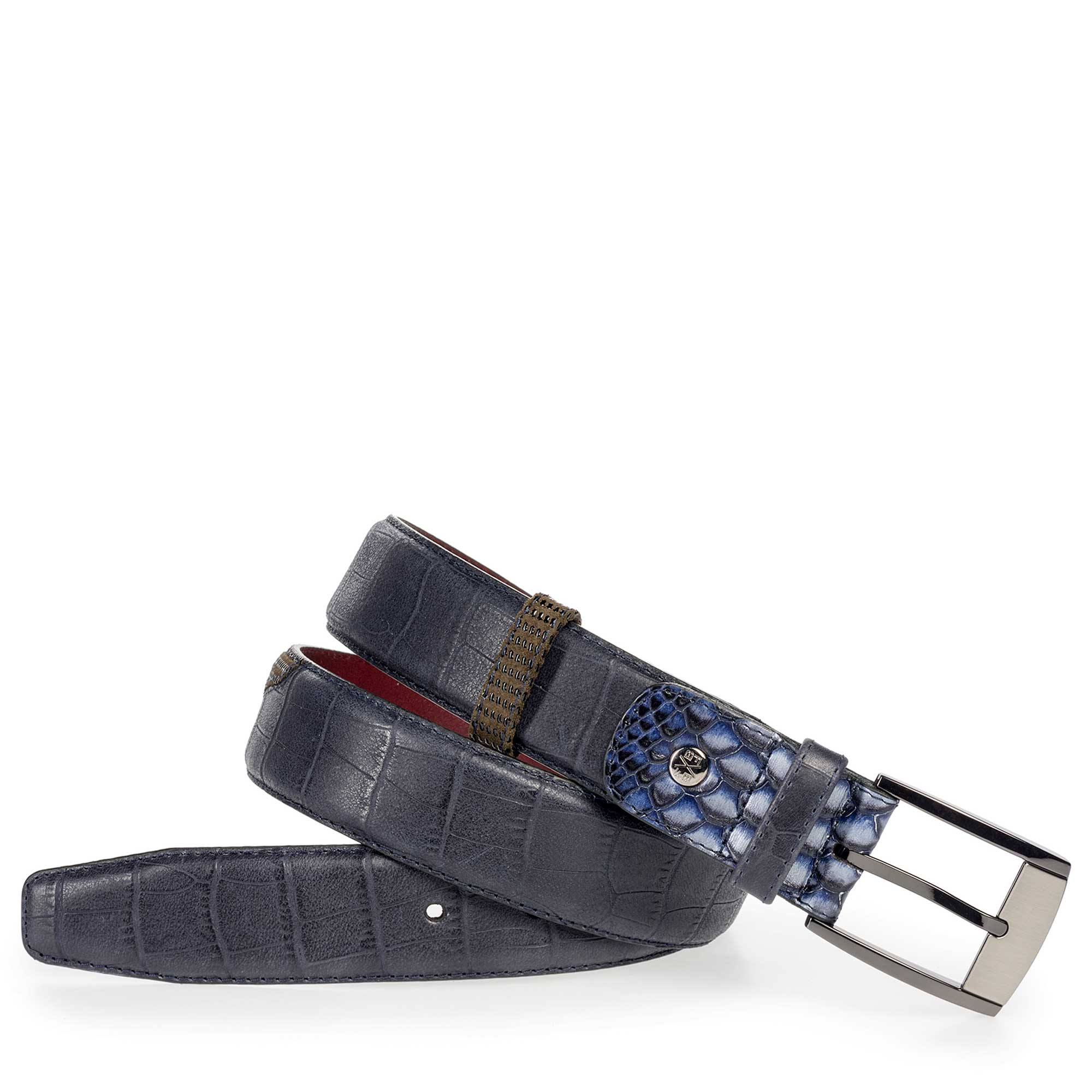 75176/07 - Dark blue calf's leather belt with croco print