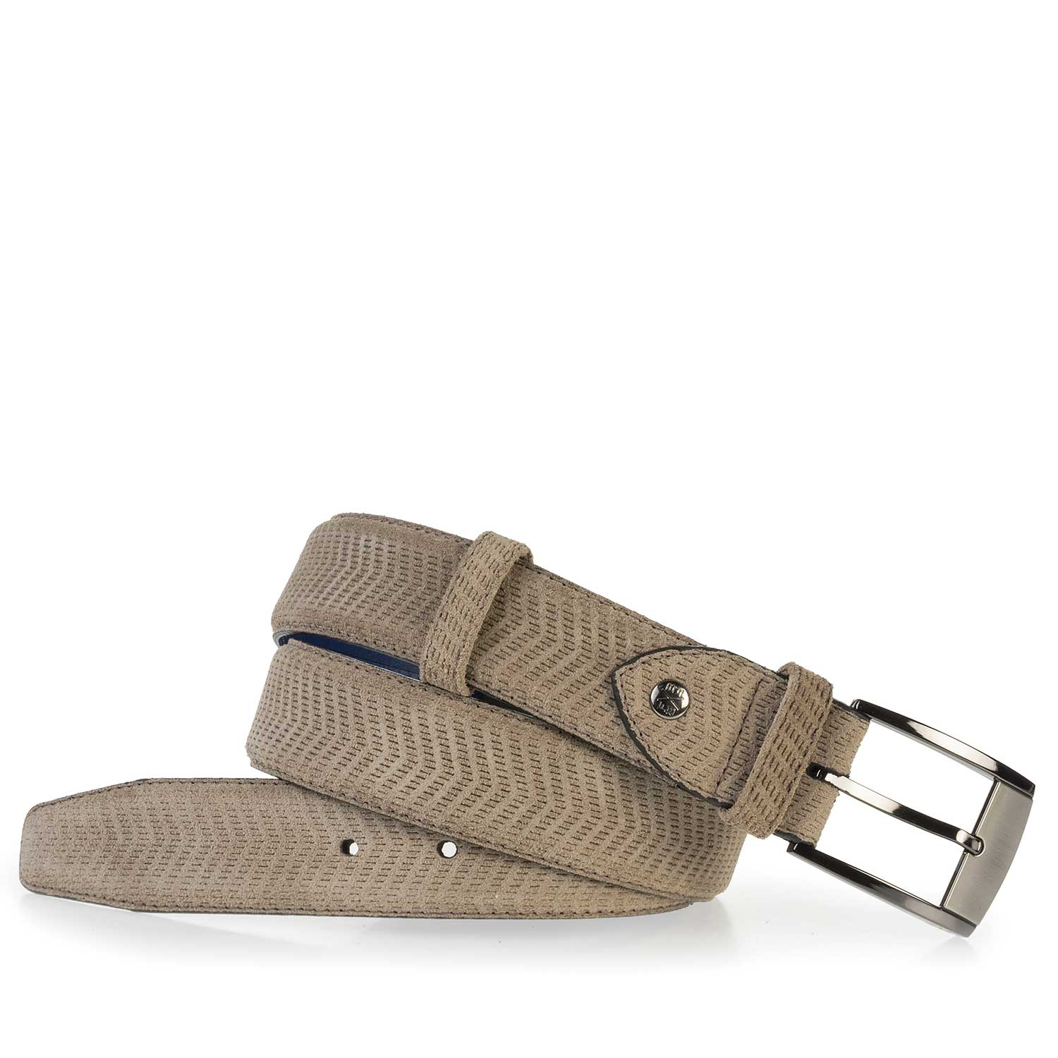 75180/09 - Sand-coloured leather belt with pattern