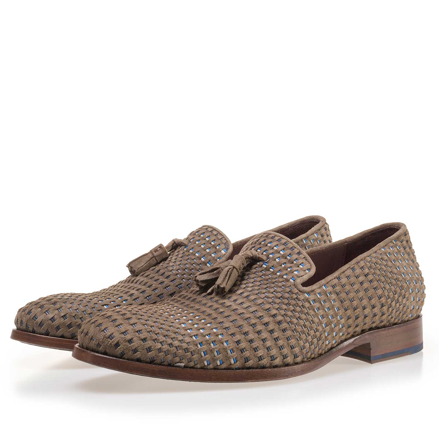 11076/01 - Taupe-coloured, braided suede leather loafer