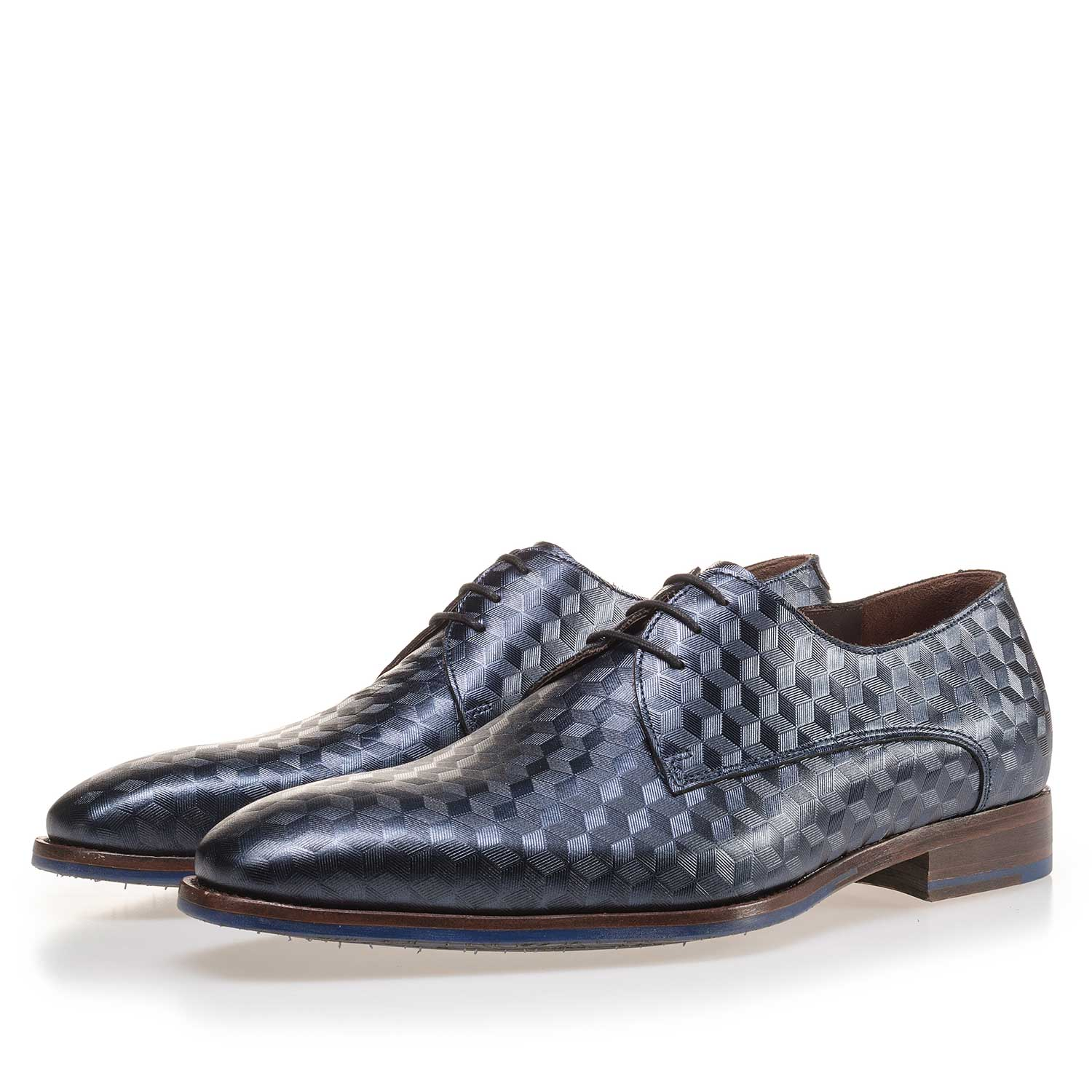 14168/01 - Blue leather lace shoe finished with a hexagon print