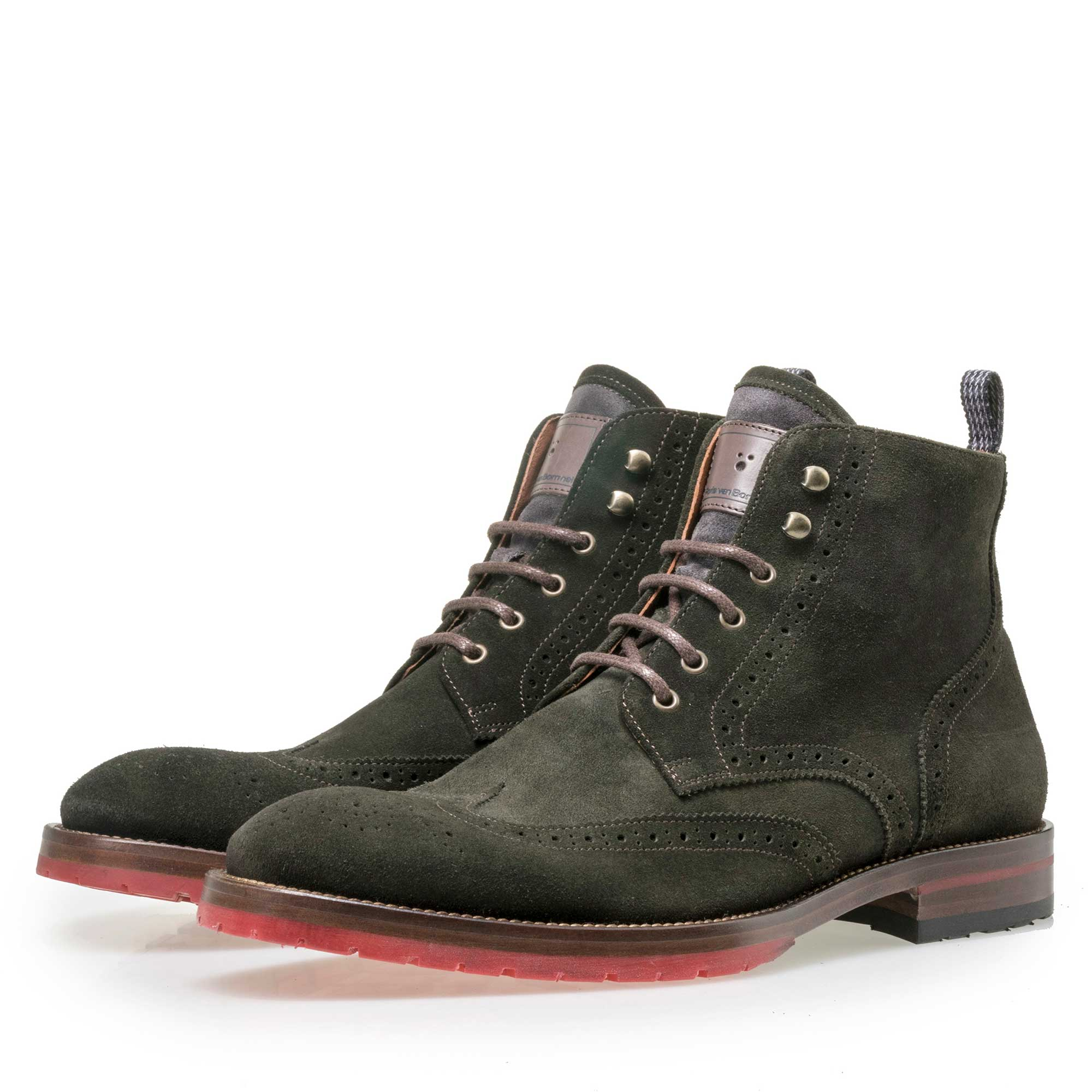 Men's olive green brogue suede leather lace boot 1097406