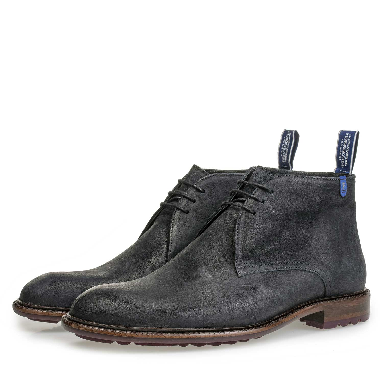 10203/03 - Dark blue suede leather lace boot