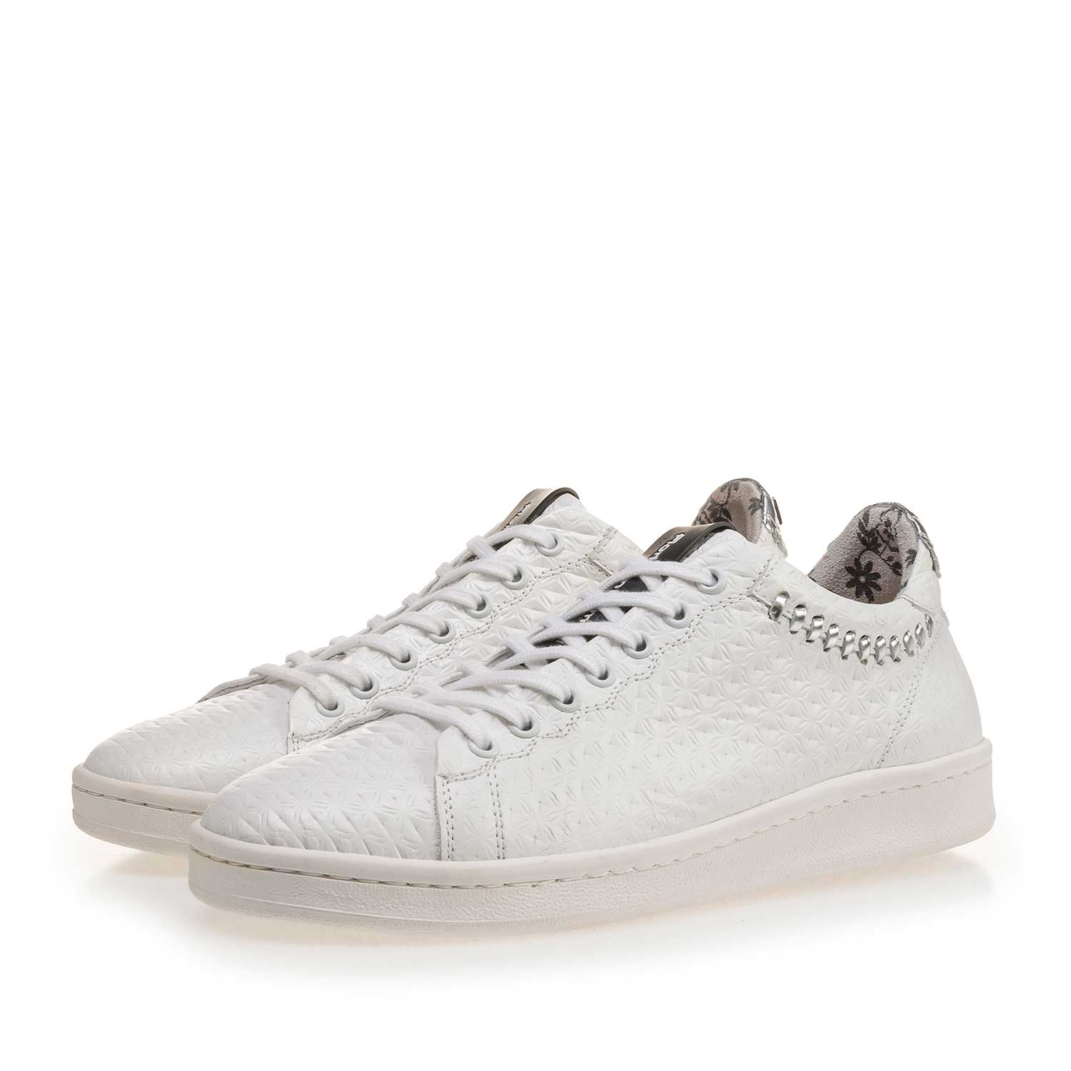 85251/02 - White patterned leather sneaker
