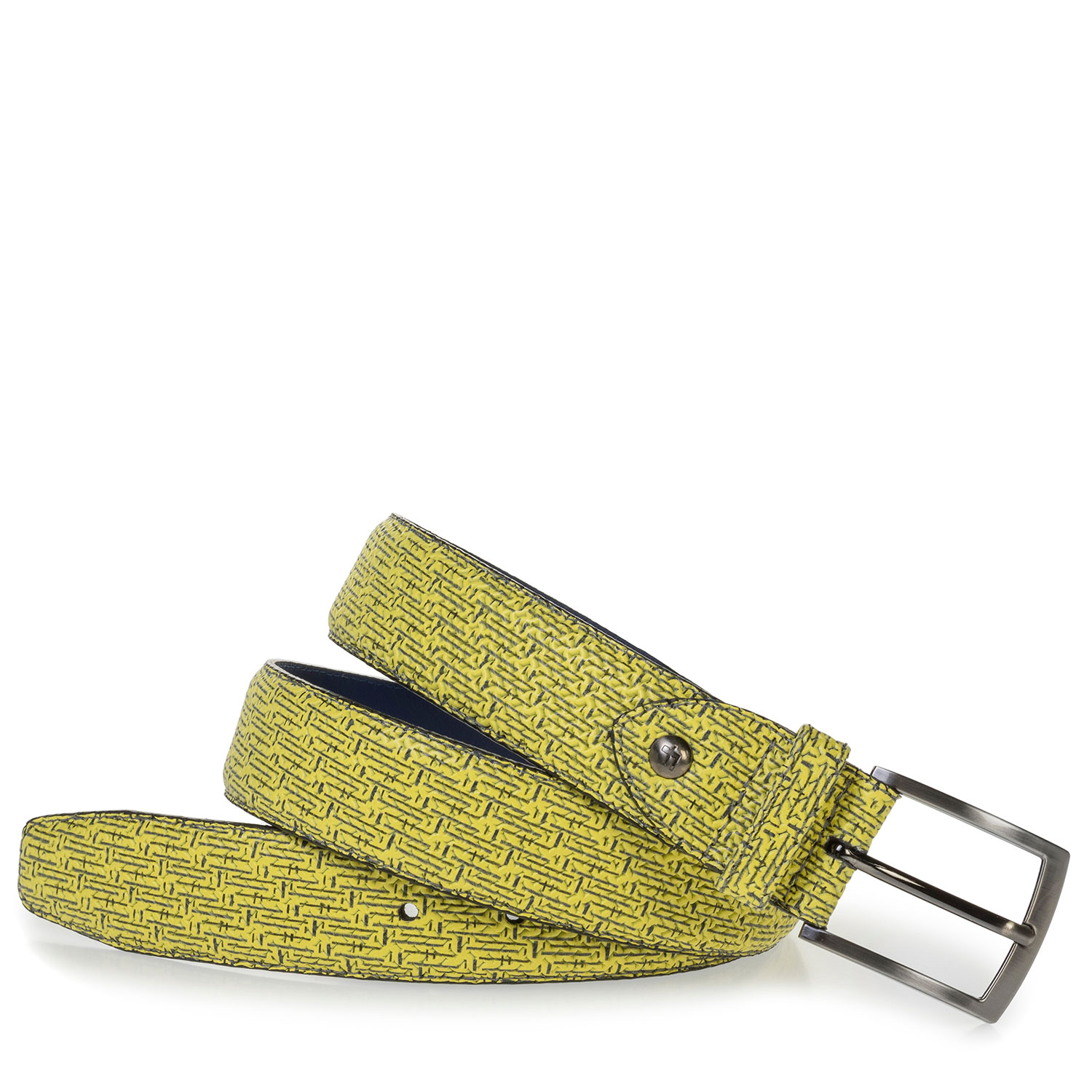 75201/92 - Yellow leather belt with black print