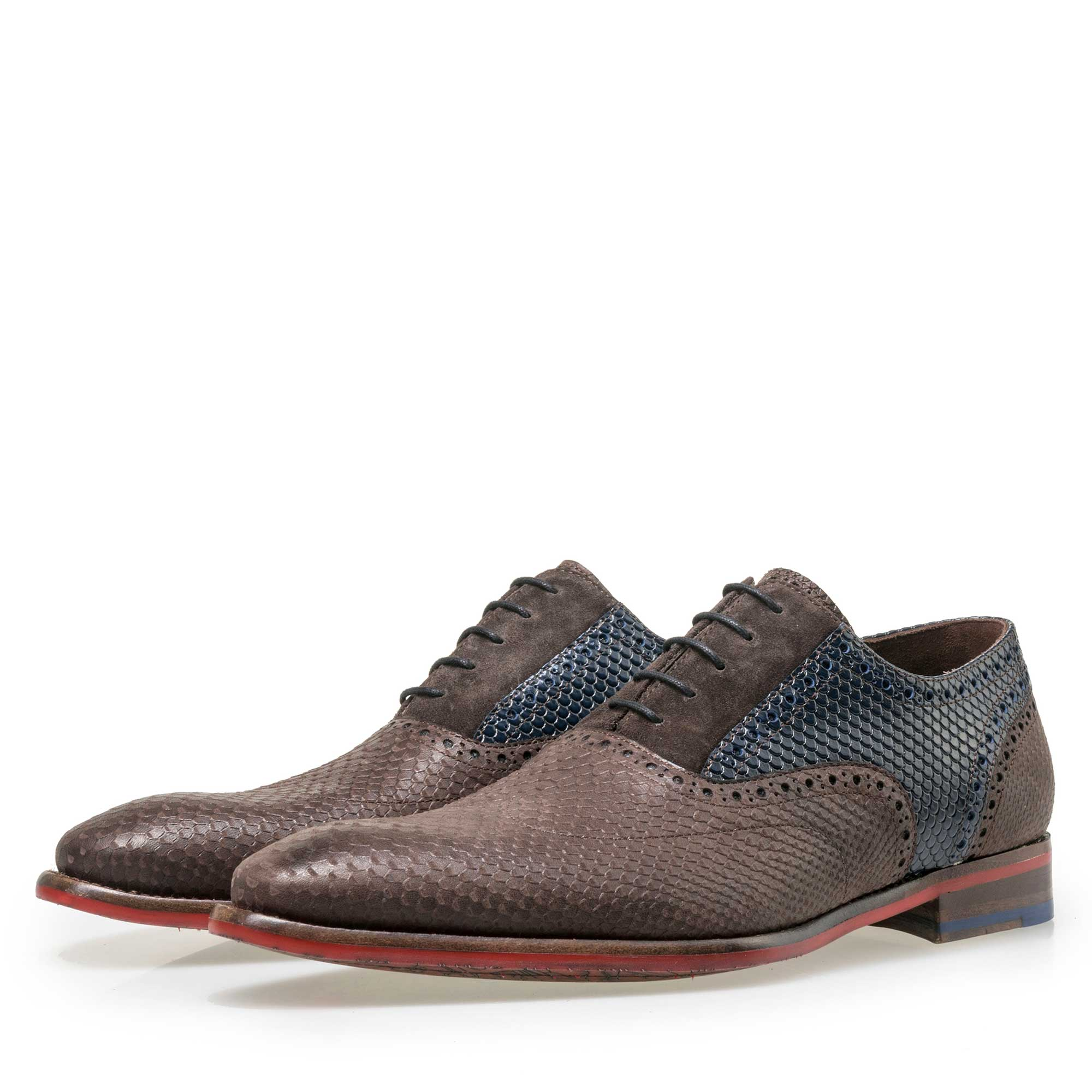 19103/03 - Floris van Bommel men's dark brown leather lace shoe