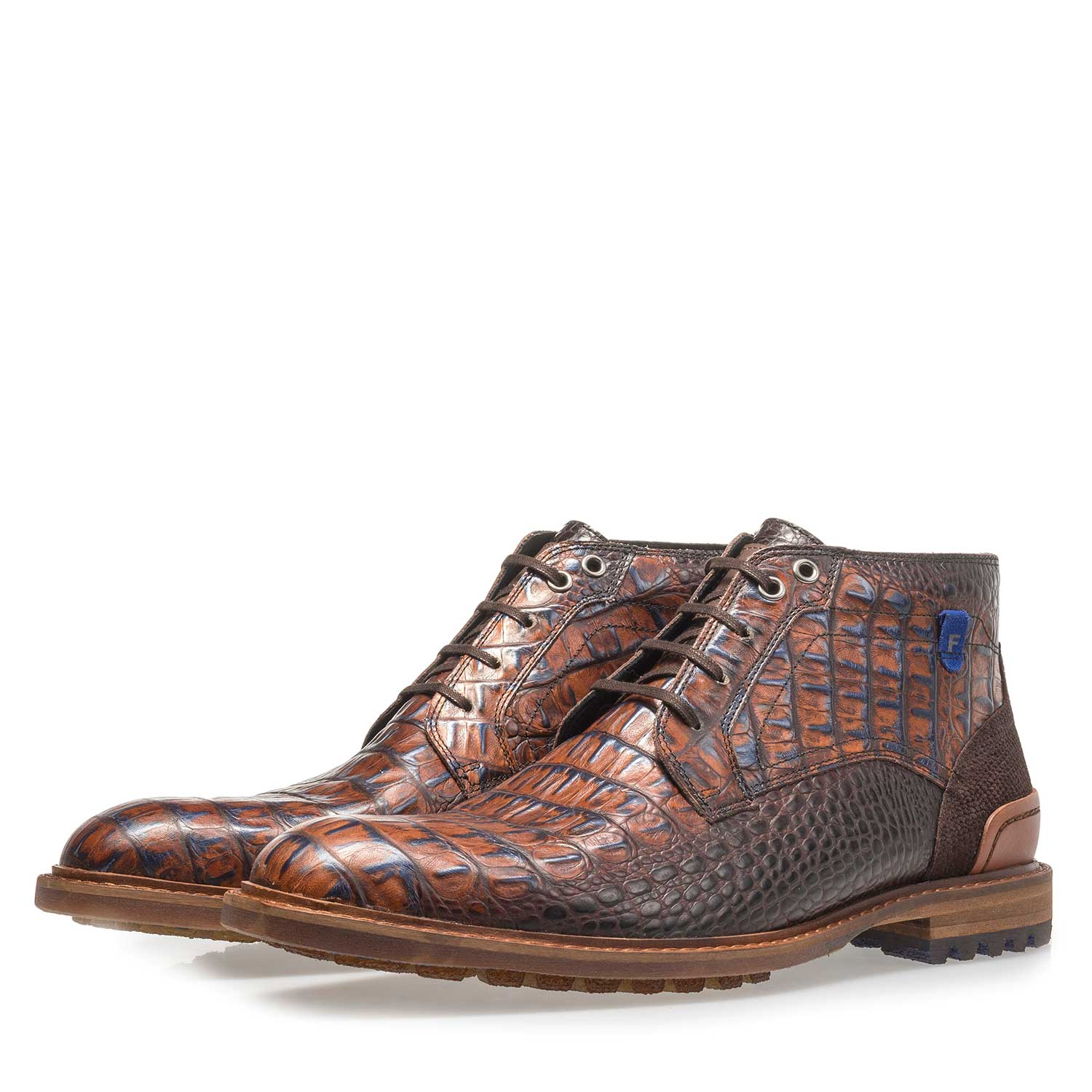20228/24 - Cognac-coloured leather lace boot with croco print