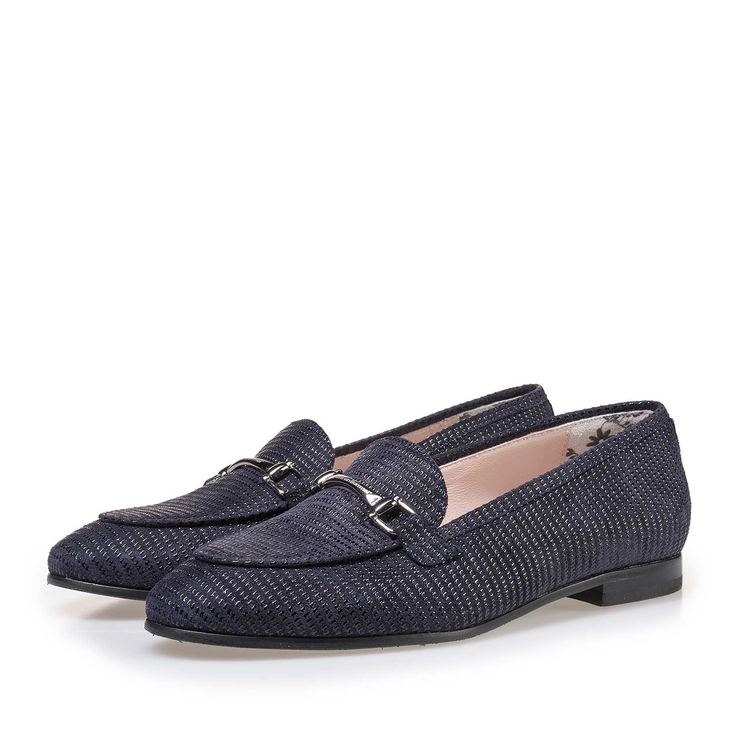 85231/04 - Dark blue suede leather loafer with printed motif