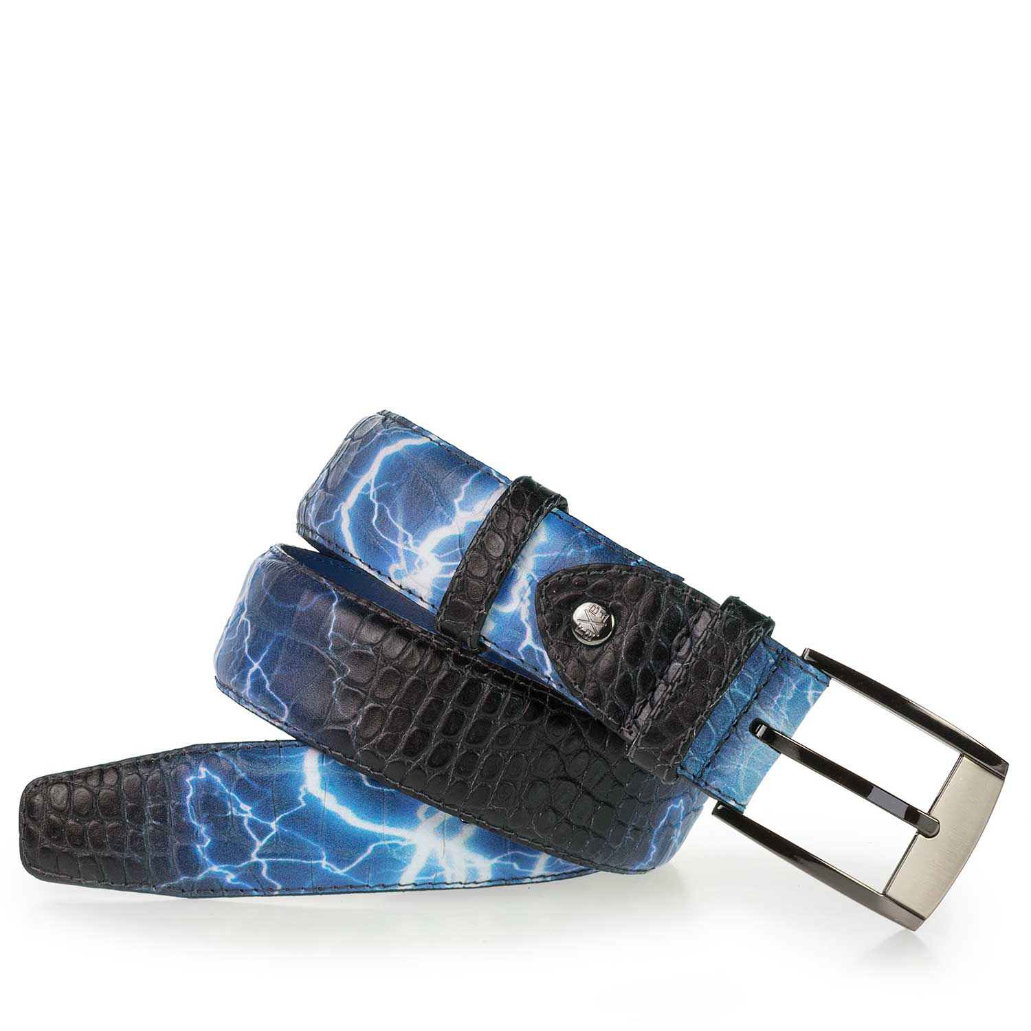 75180/25 - Premium blue leather belt with flash print