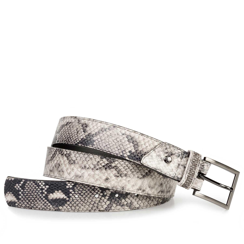 Grey Calfs Leather Belt With Snake Print Floris Van Bommel