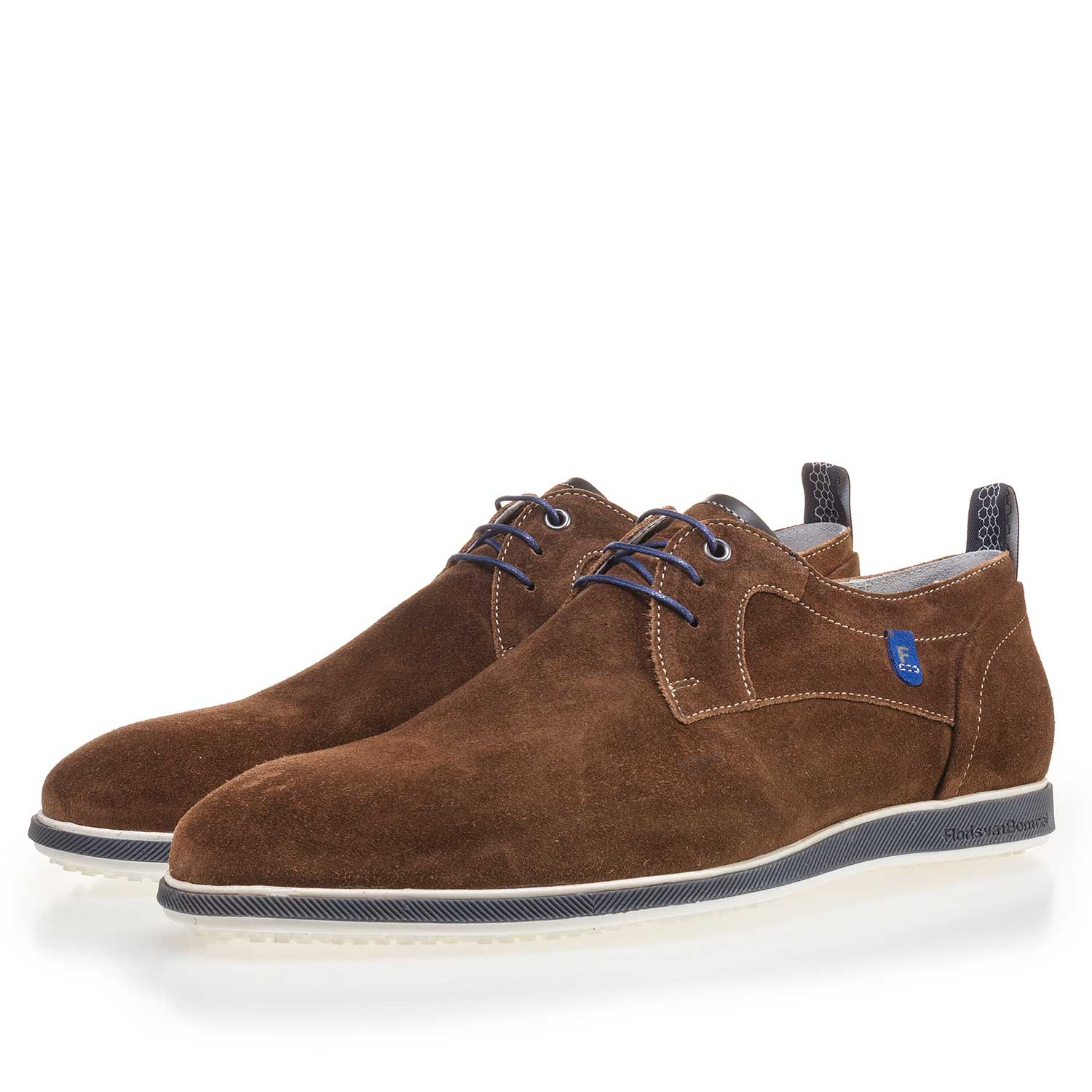 14076/02 - Brown suede leather lace shoe