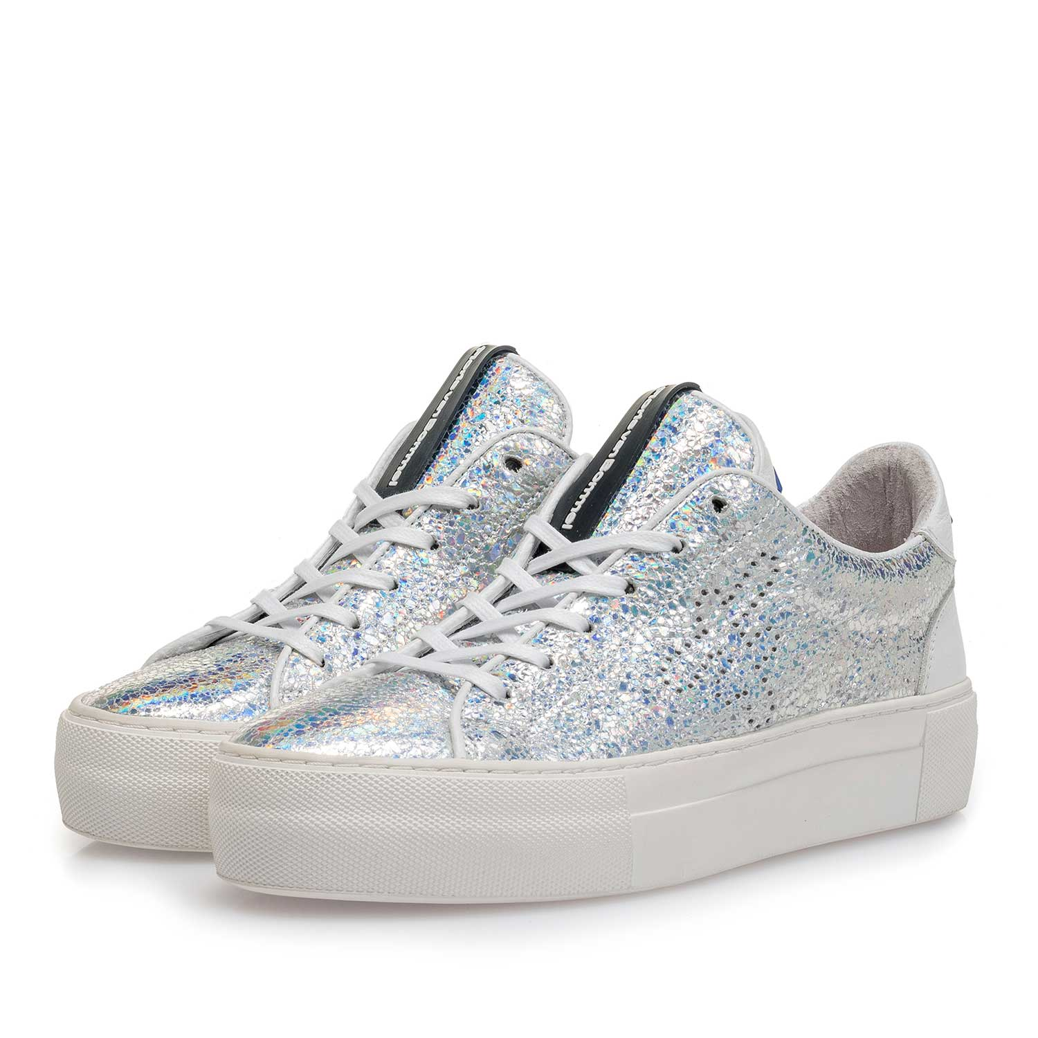 85266/00 - Silver metallic leather sneaker with craquelé effect