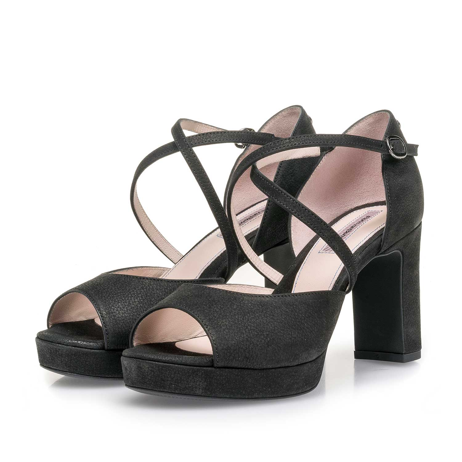 a658aad01da Black leather high-heeled sandal 85903/02 | Floris van Bommel®