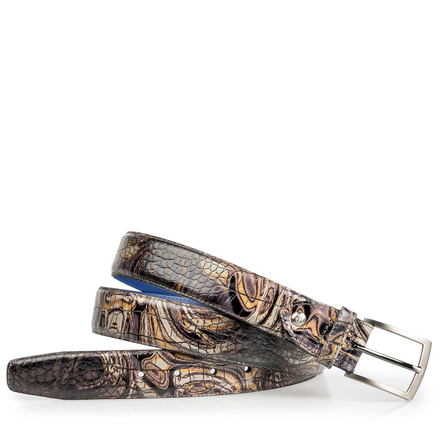 75190/33 - Grey Premium calf's leather belt with croco print