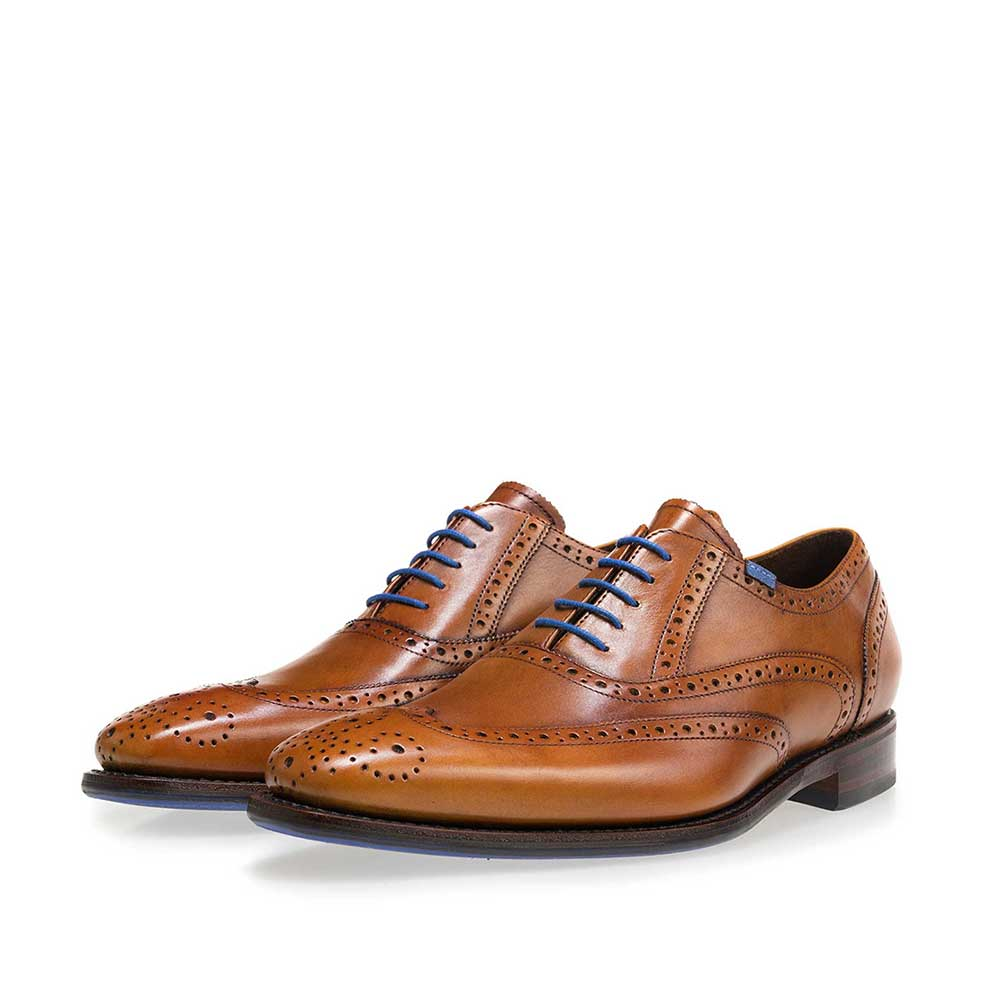 19470/00 - Floris van Bommel cognac leather men's lace-up shoe