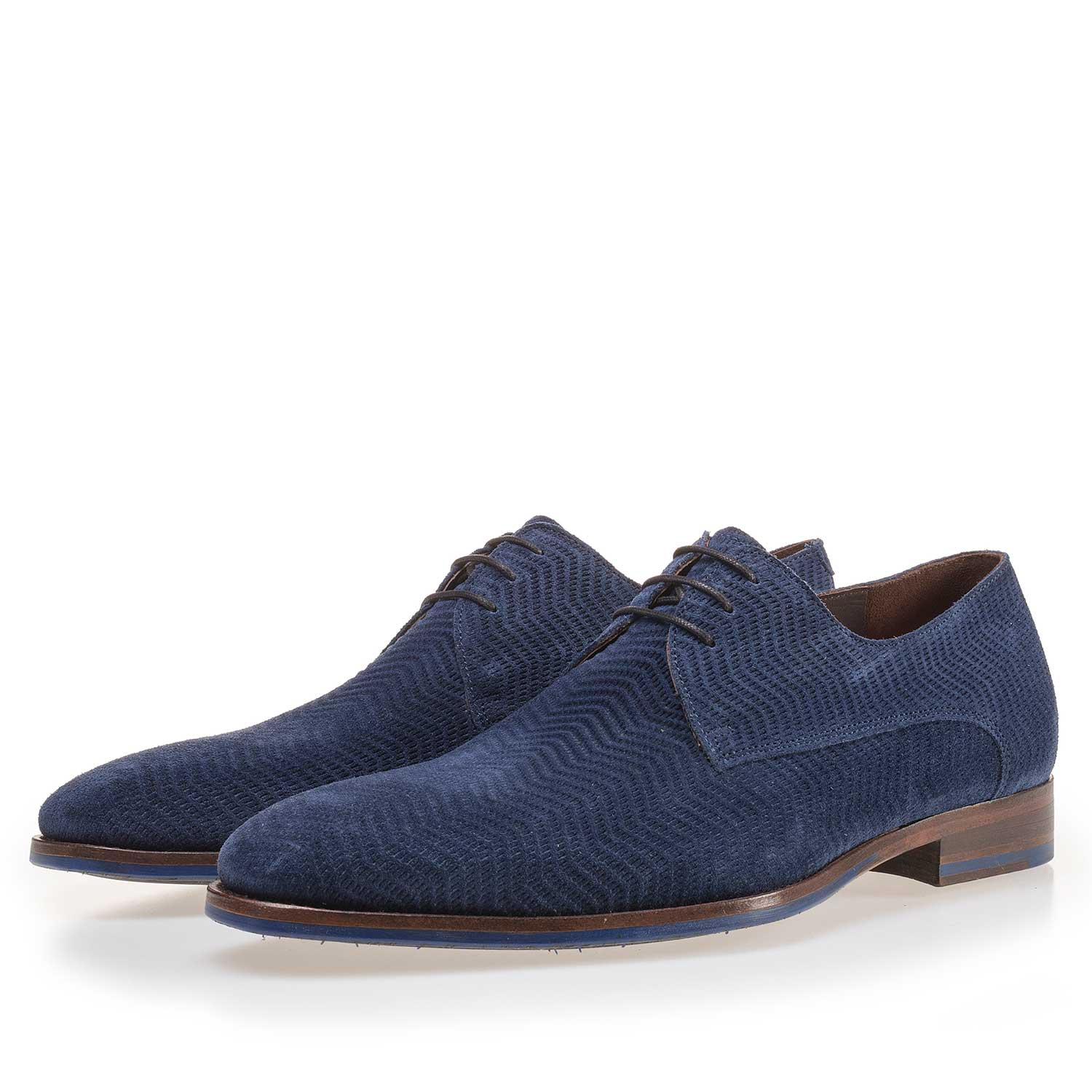 14146/03 - Blue suede leather lace shoe
