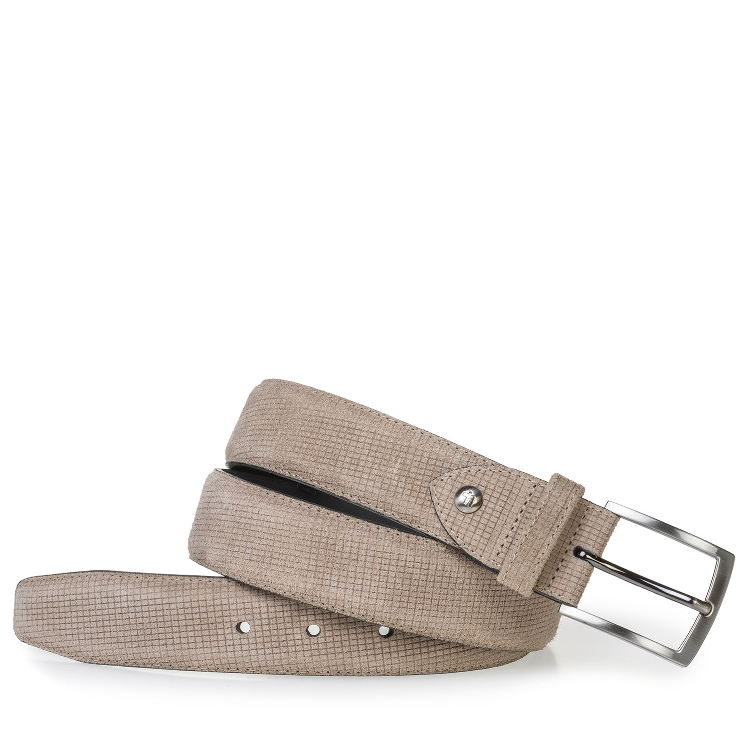75201/97 - Beige suede leather belt with print