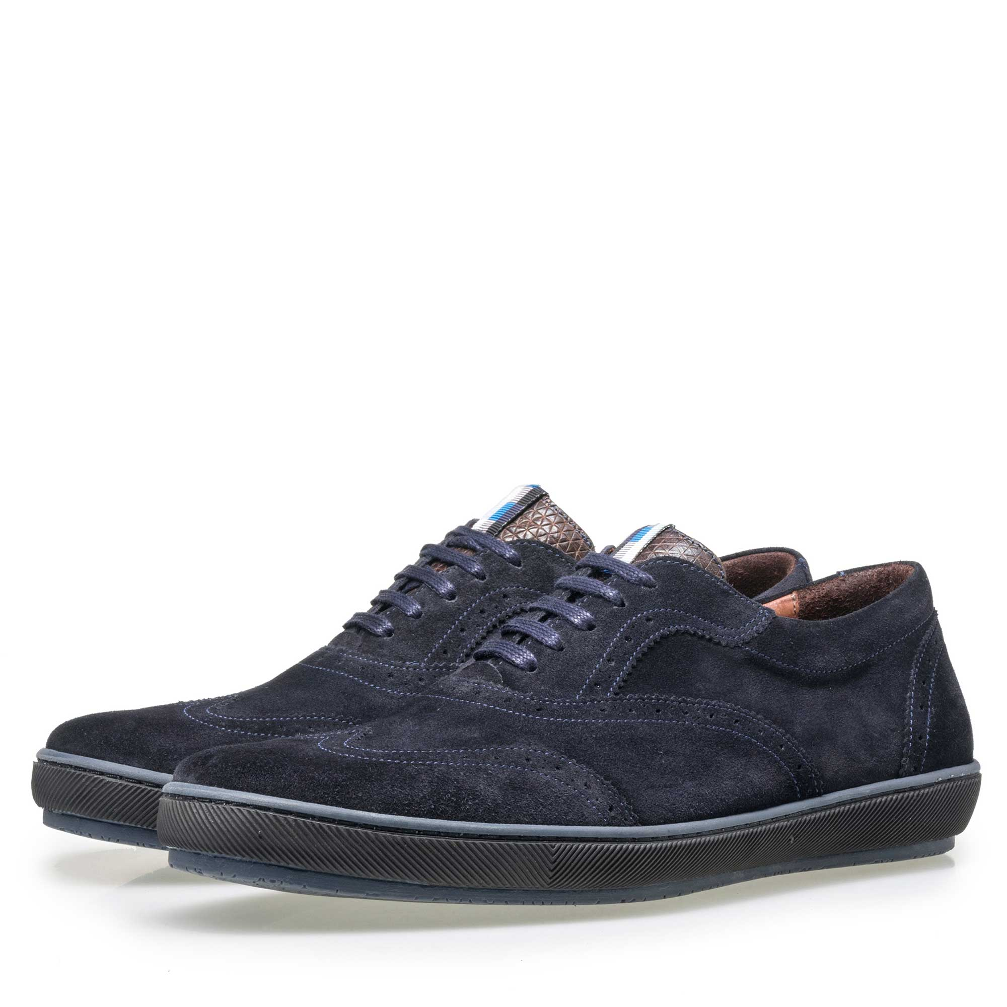 19036/31 - Floris van Bommel men's dark blue suede brogue lace shoe