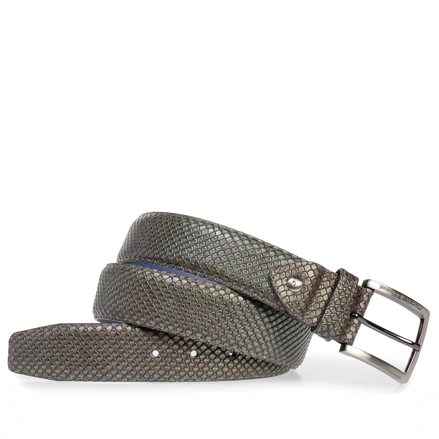 75202/16 - Premium green printed metallic leather belt