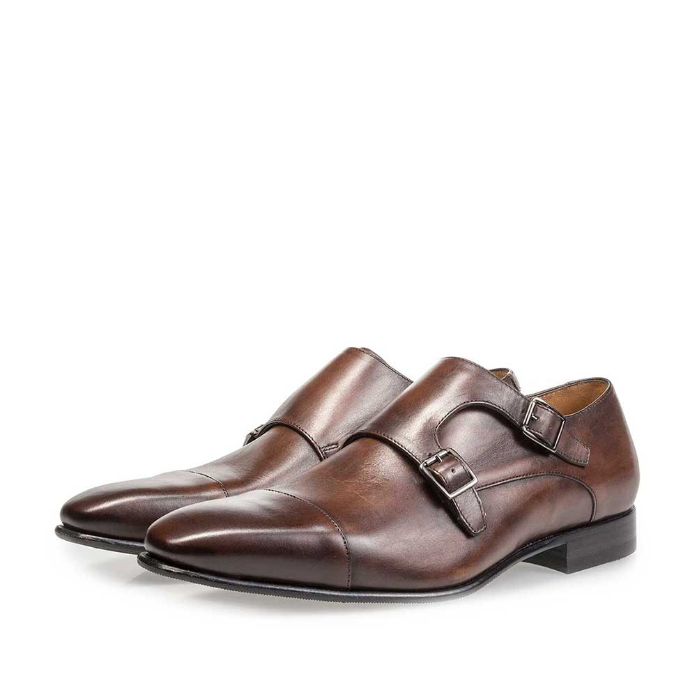 12295/03 - Dark brown calf leather monk strap